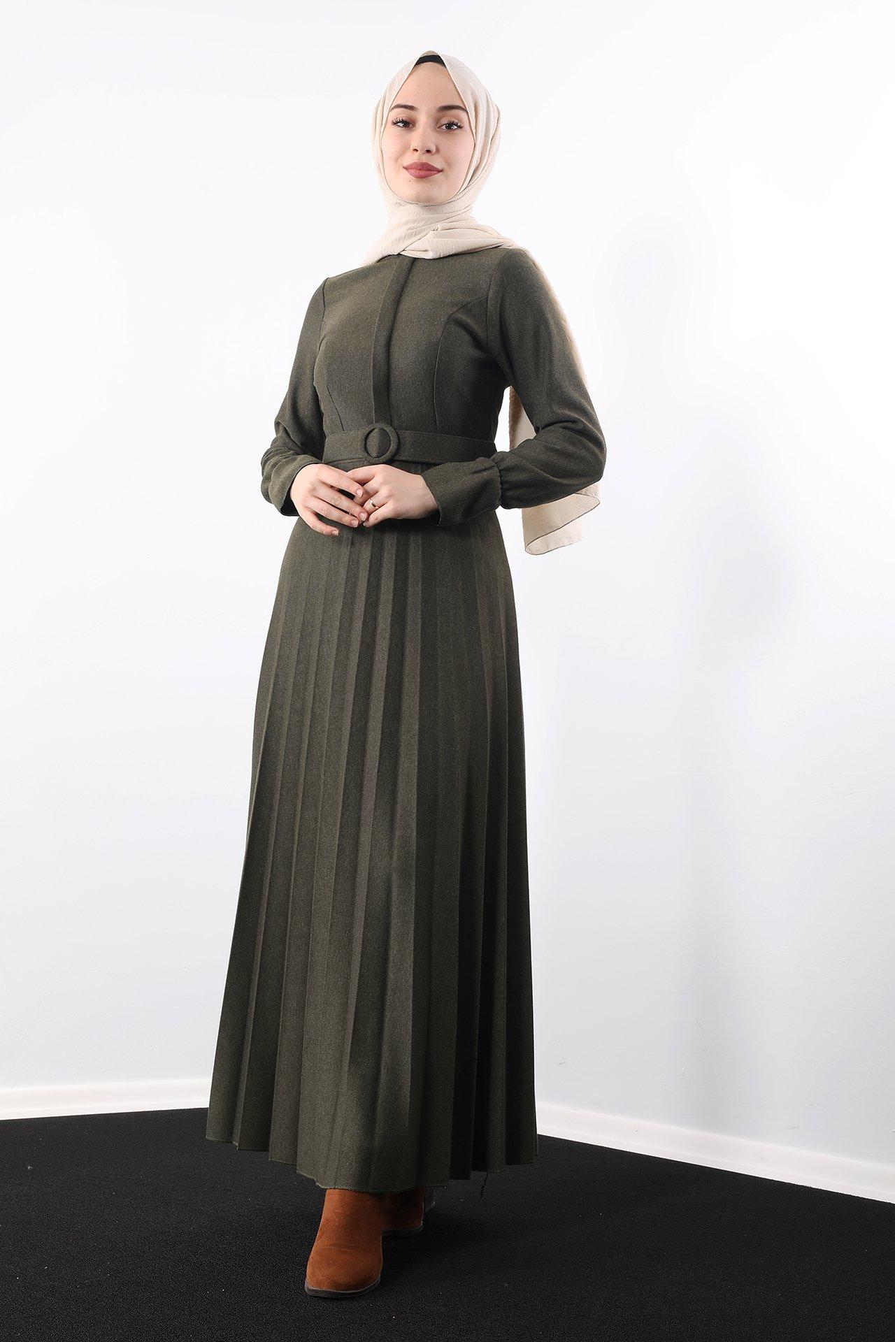 GİZAGİYİM - Eteği Piliseli Elbise Haki