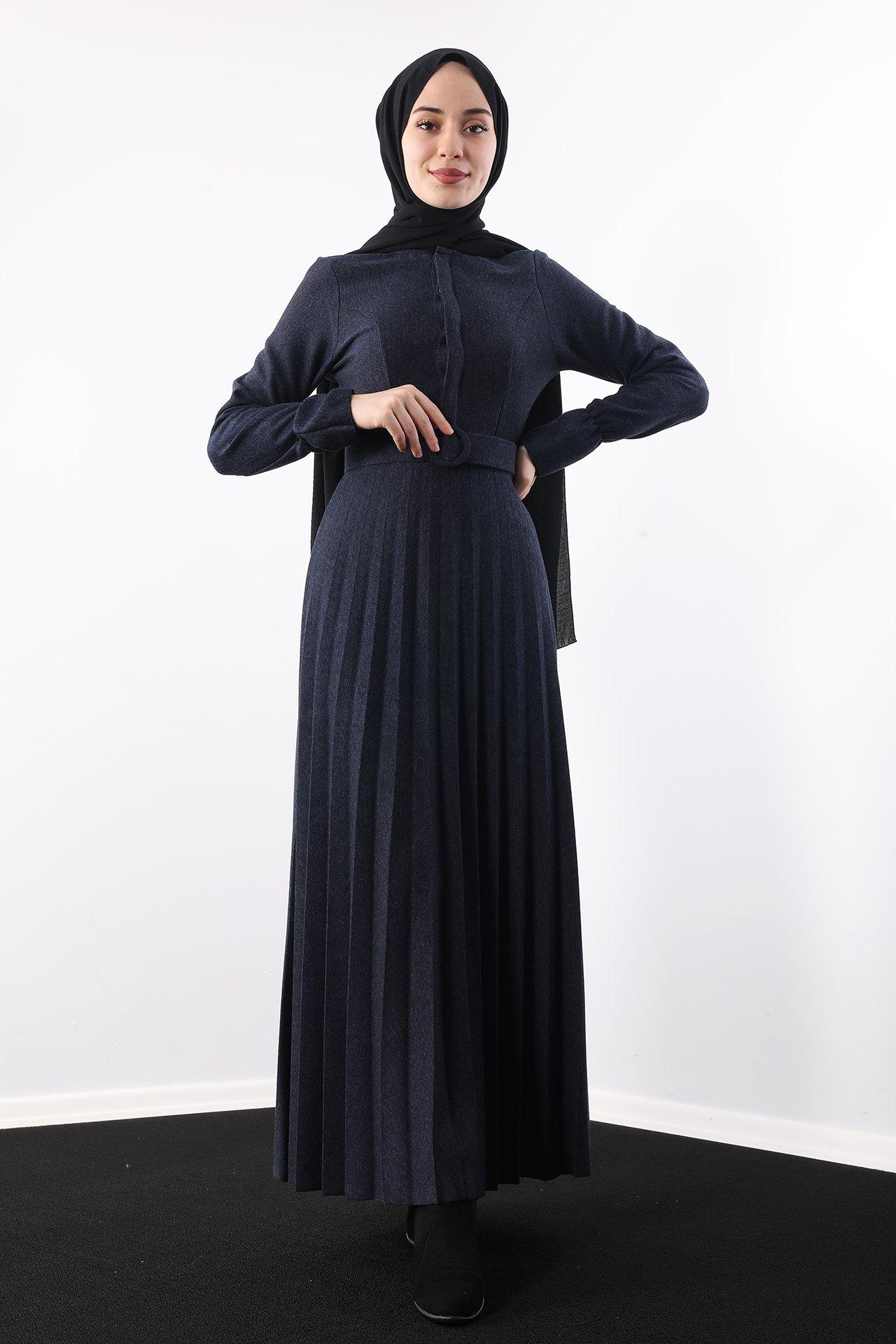 GİZAGİYİM - Eteği Piliseli Elbise Lacivert