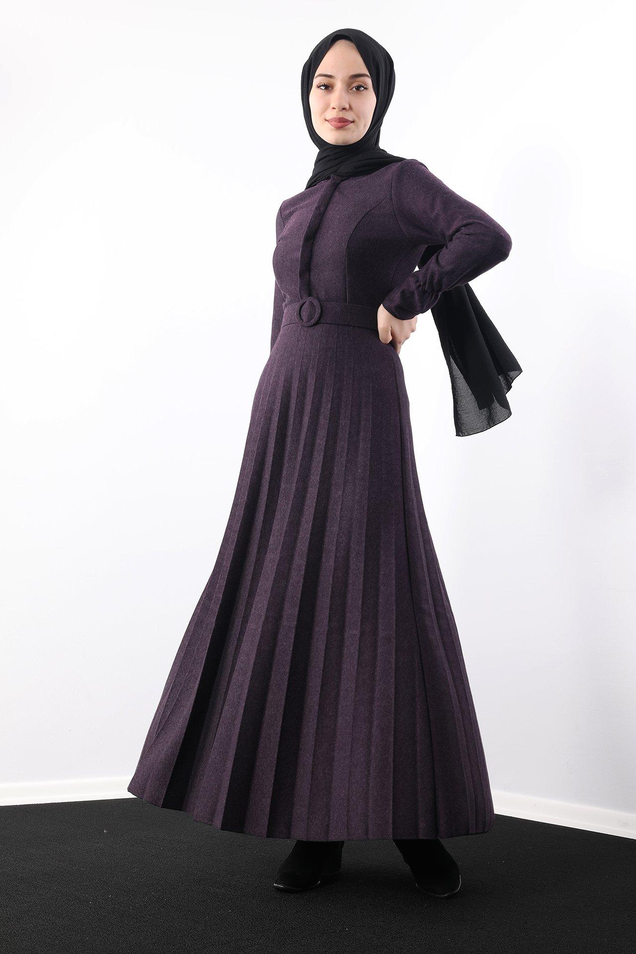 GİZAGİYİM - Eteği Piliseli Elbise Mor
