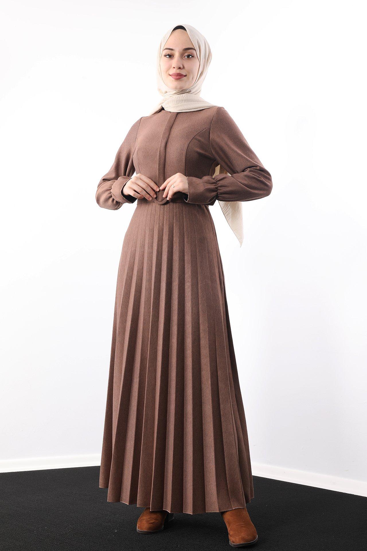 GİZAGİYİM - Eteği Piliseli Elbise Tarçın