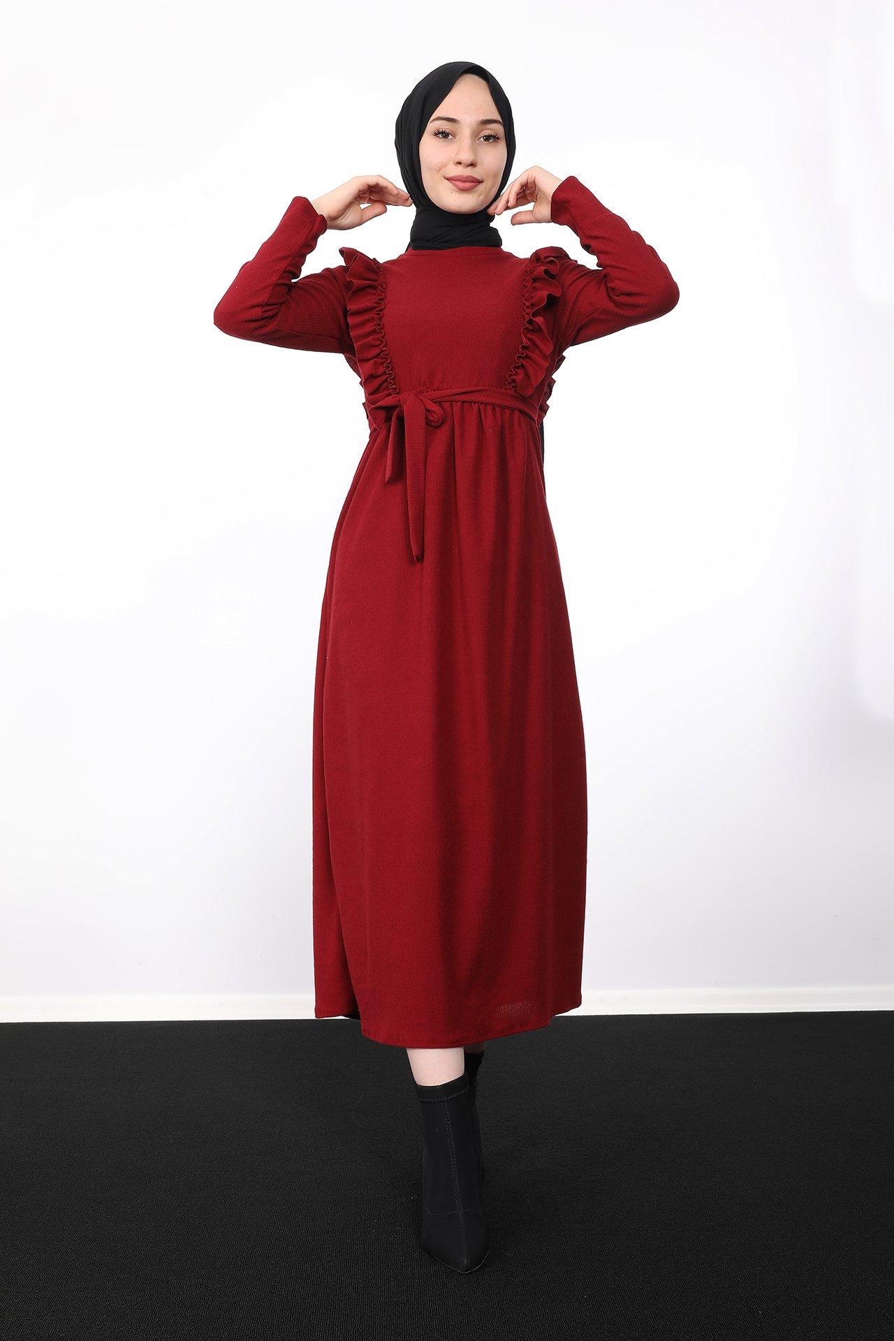 GİZAGİYİM - Önü Fırfırlı Kadife Elbise Bordo