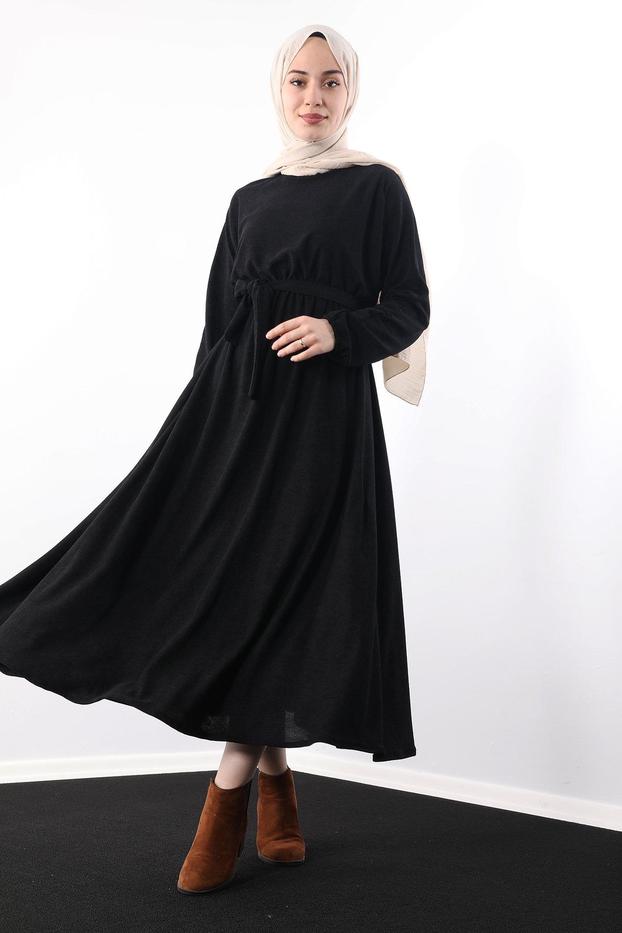 GİZAGİYİM - Beli Lastikli Kadife Elbise Siyah