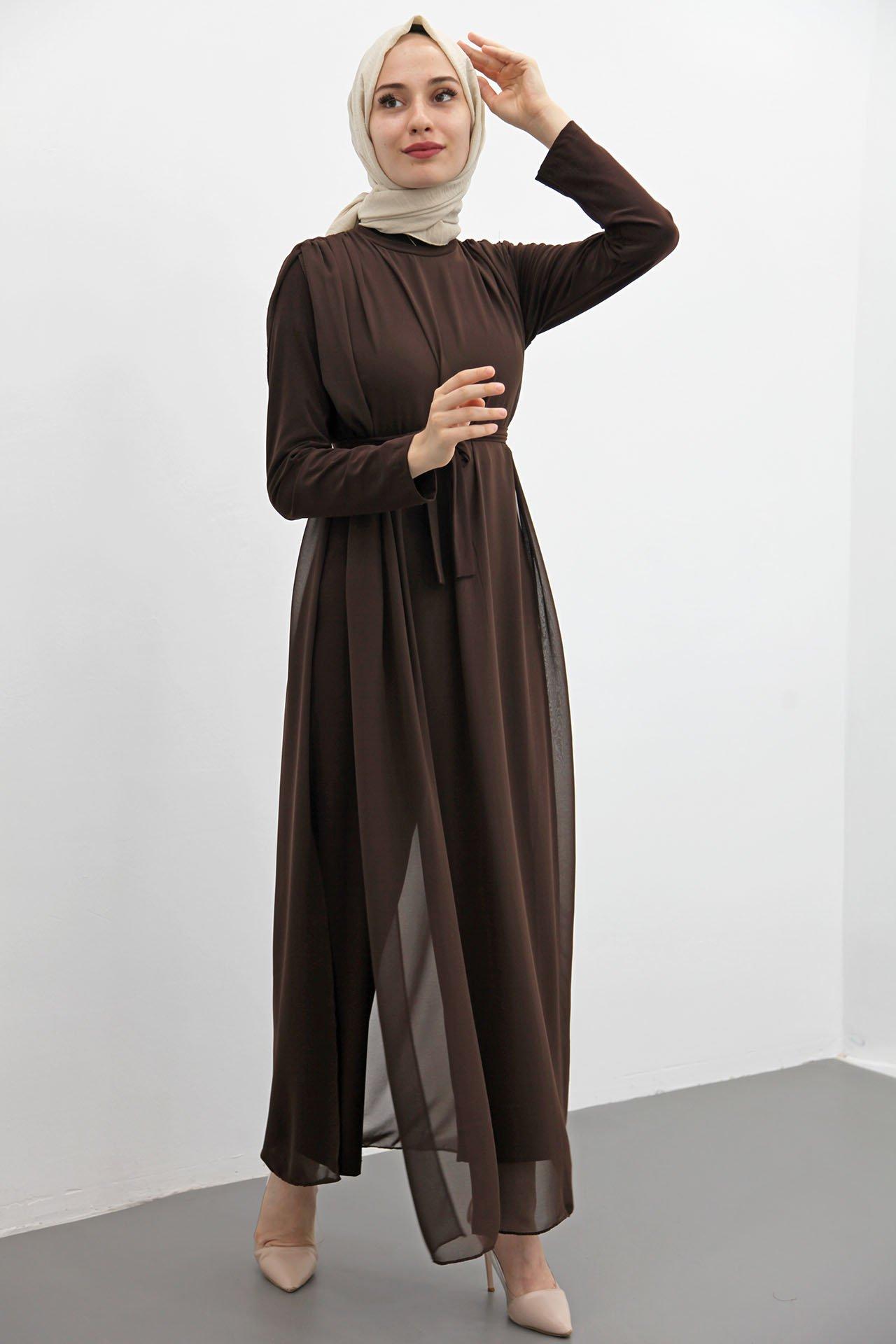 GİZAGİYİM - Giza Kuşaklı Şifon Tulum Kahverengi