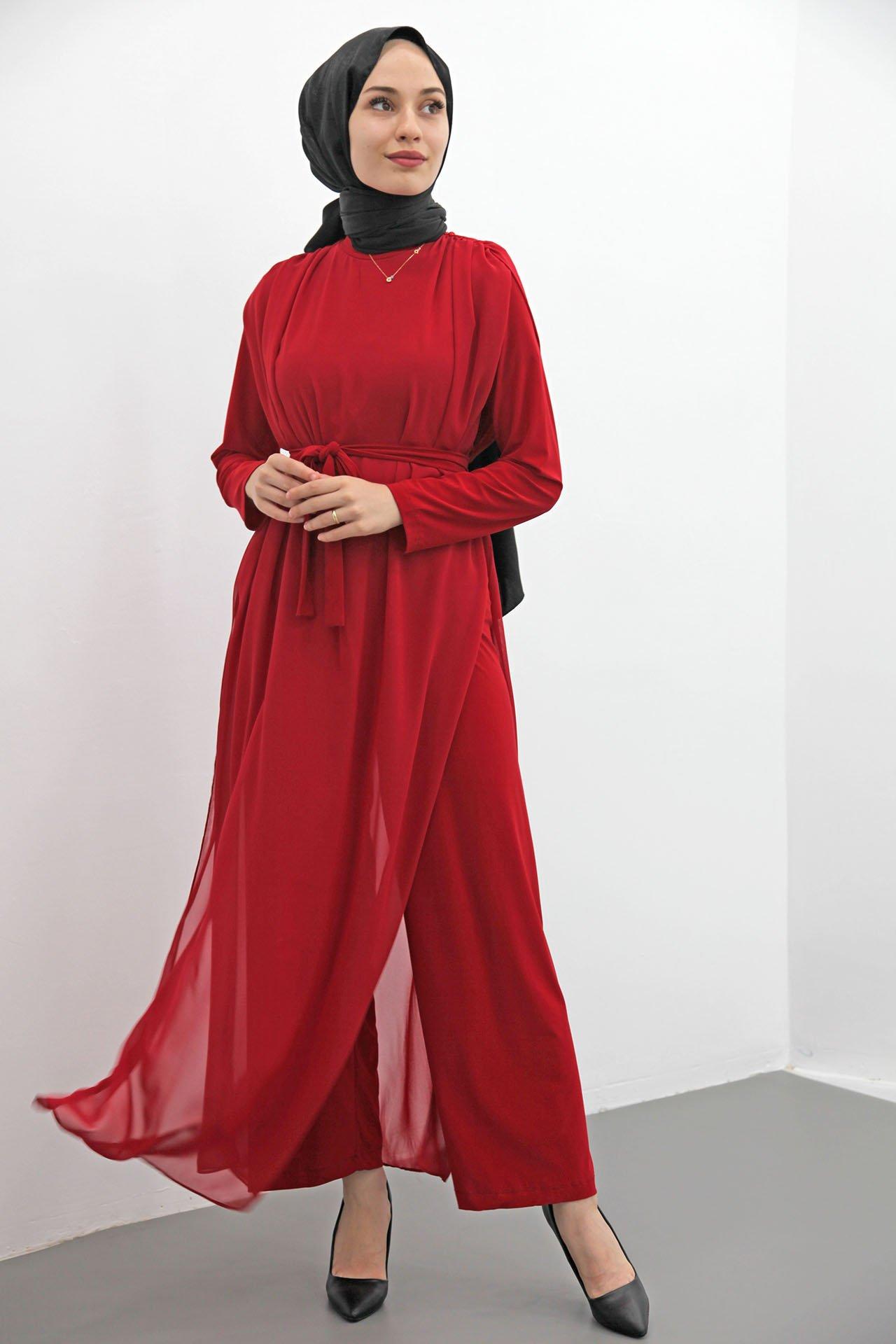 GİZAGİYİM - Kuşaklı Şifon Tulum Kırmızı
