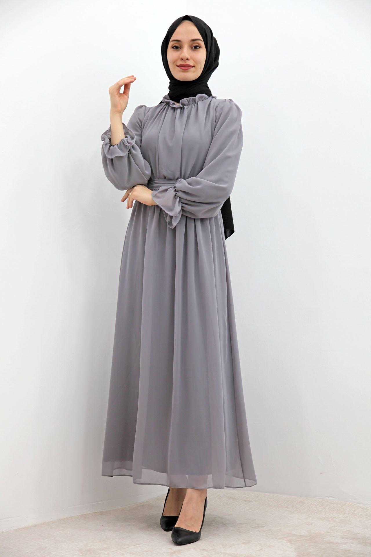 Kol Boyun Fırfır Tesettür Elbise Açık Gri - Thumbnail
