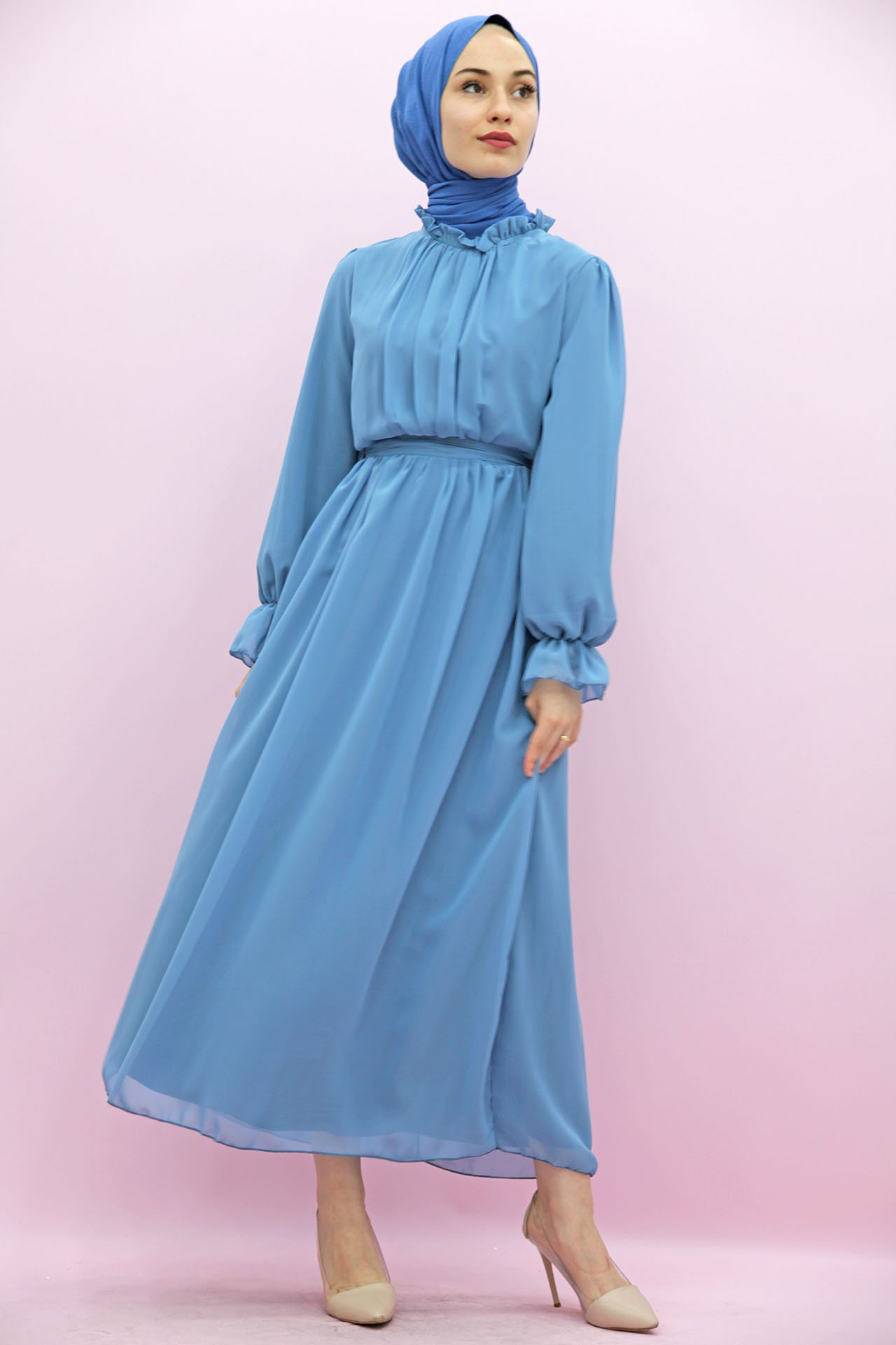 GİZAGİYİM - Giza Kol Boyun Fırfır Tesettür Elbise Bebe Mavi