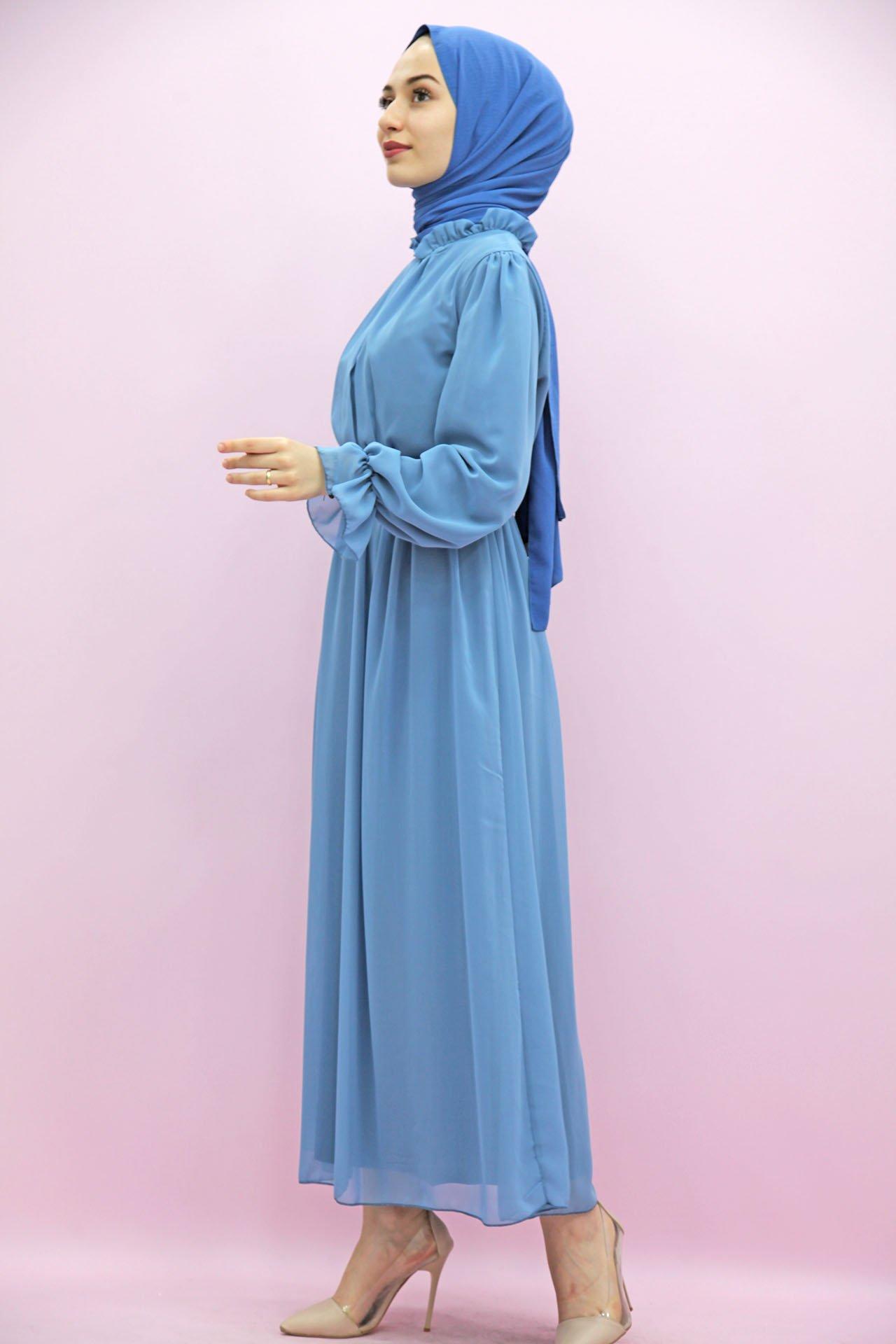 Giza Kol Boyun Fırfır Tesettür Elbise Bebe Mavi - Thumbnail
