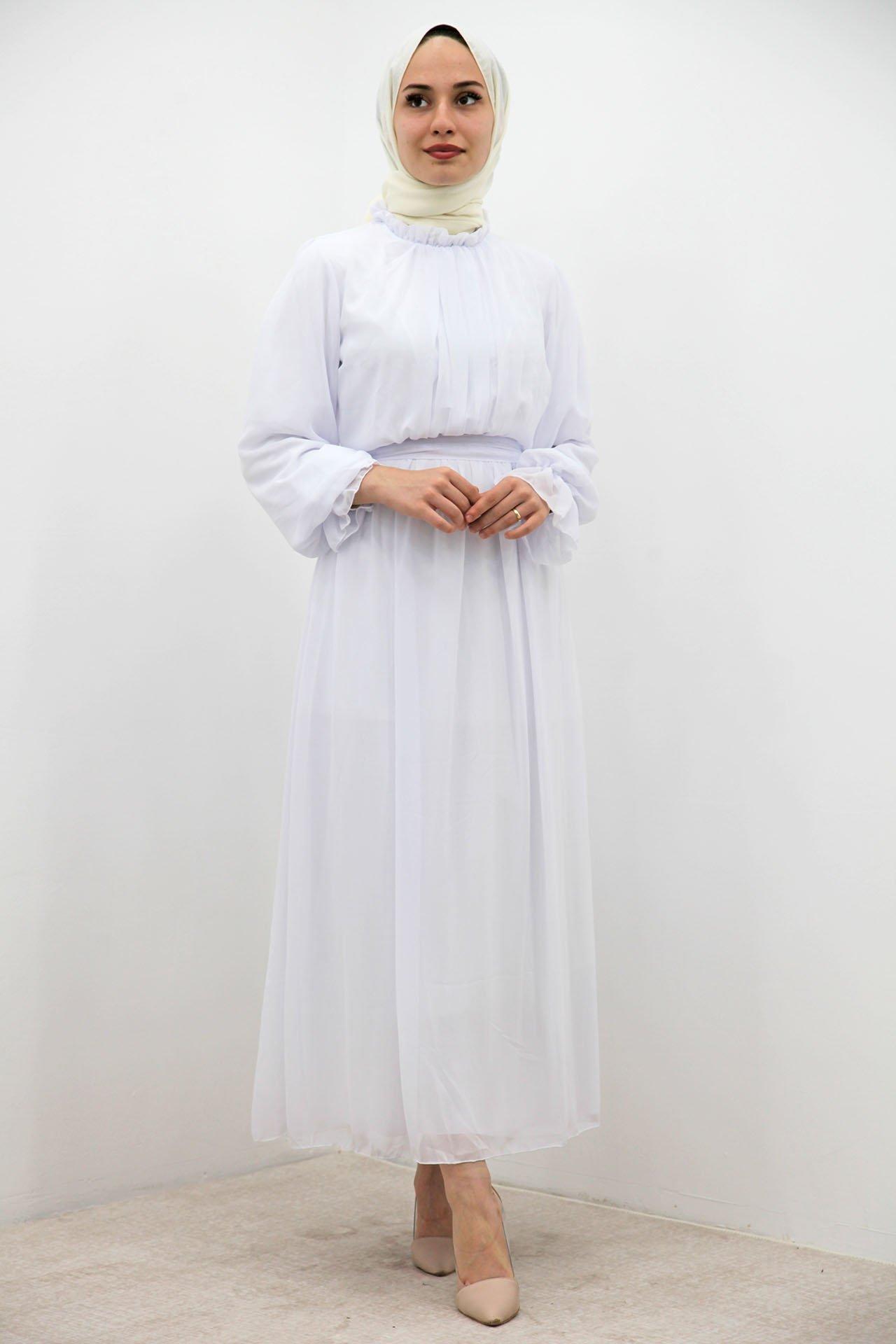 GİZAGİYİM - Kol Boyun Fırfır Tesettür Elbise Beyaz
