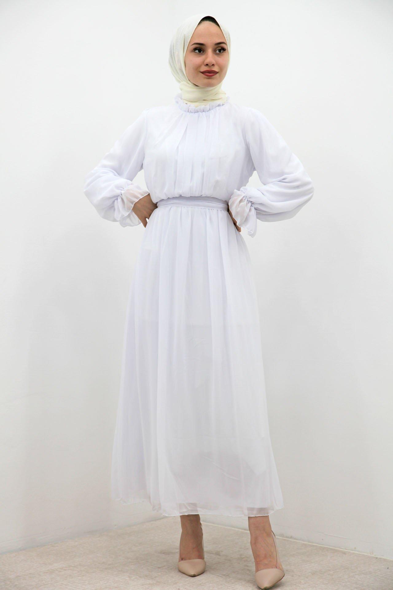 Giza Kol Boyun Fırfır Tesettür Elbise Beyaz - Thumbnail