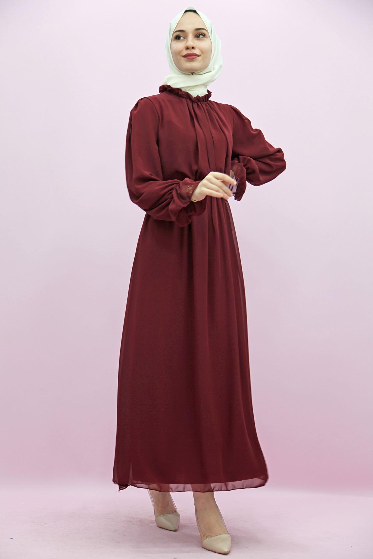 GİZAGİYİM - Giza Kol Boyun Fırfır Tesettür Elbise Bordo