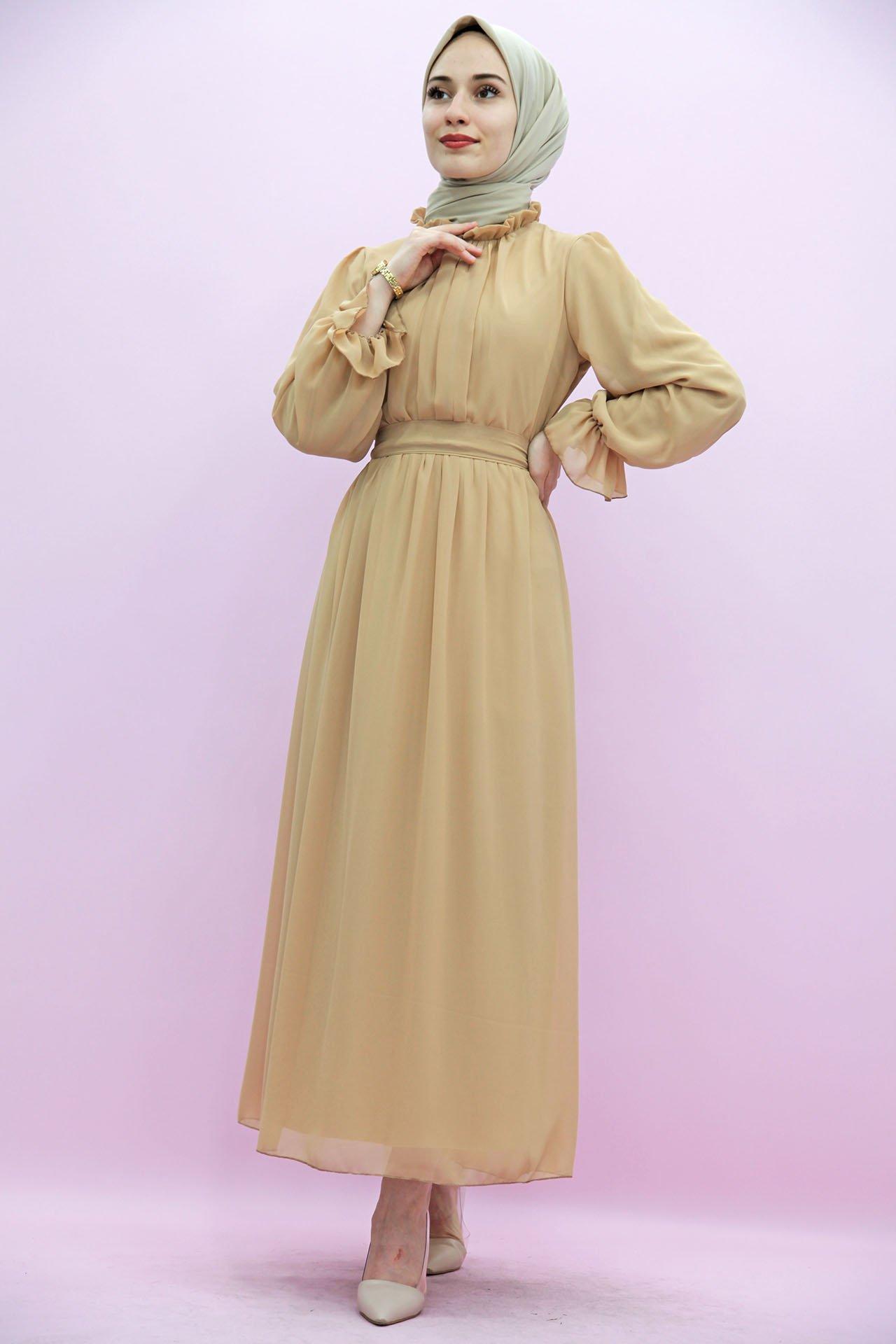 GİZAGİYİM - Giza Kol Boyun Fırfır Tesettür Elbise Bisküvi