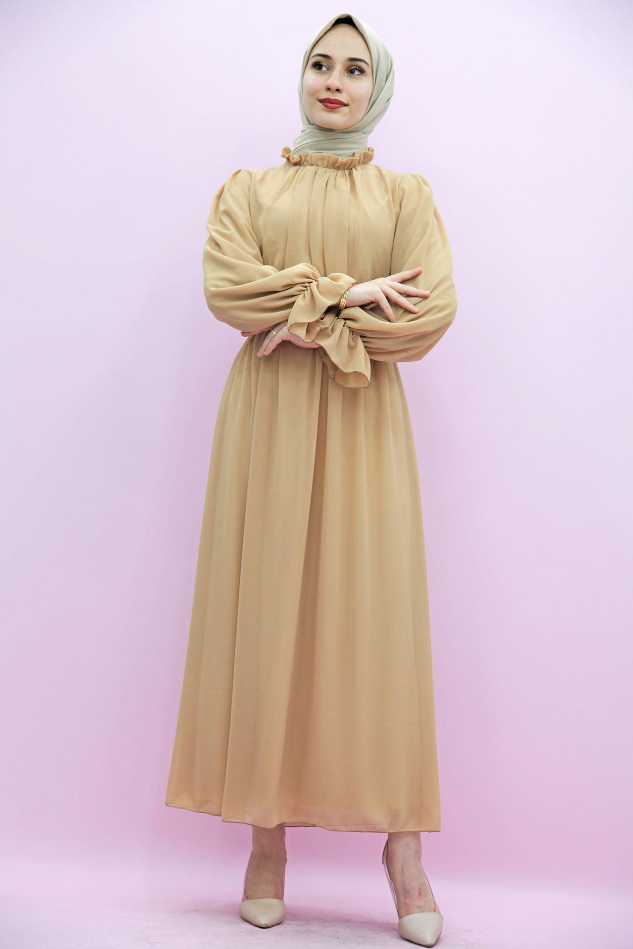 Giza Kol Boyun Fırfır Tesettür Elbise Bisküvi - Thumbnail