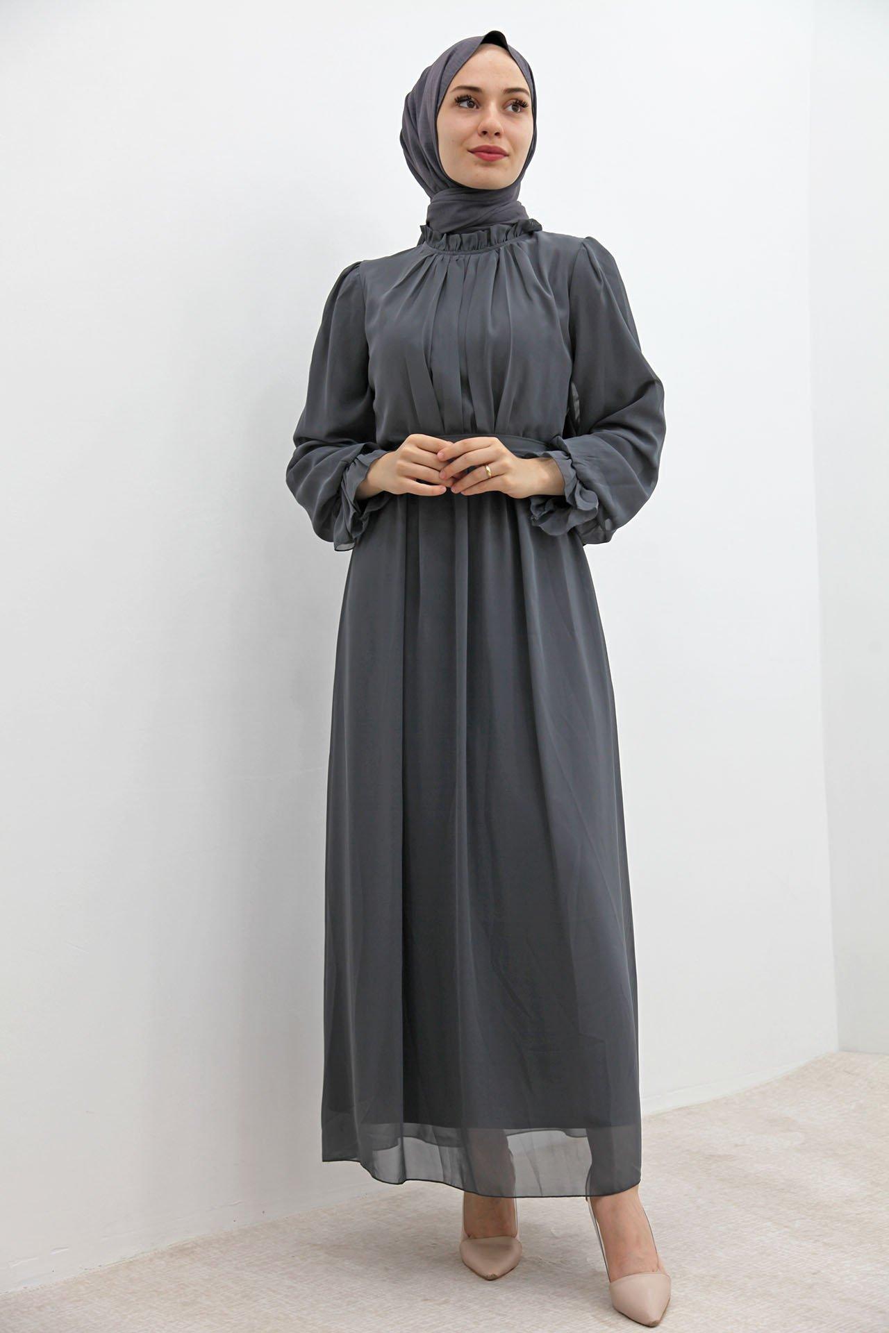 Kol Boyun Fırfır Tesettür Elbise Gri - Thumbnail