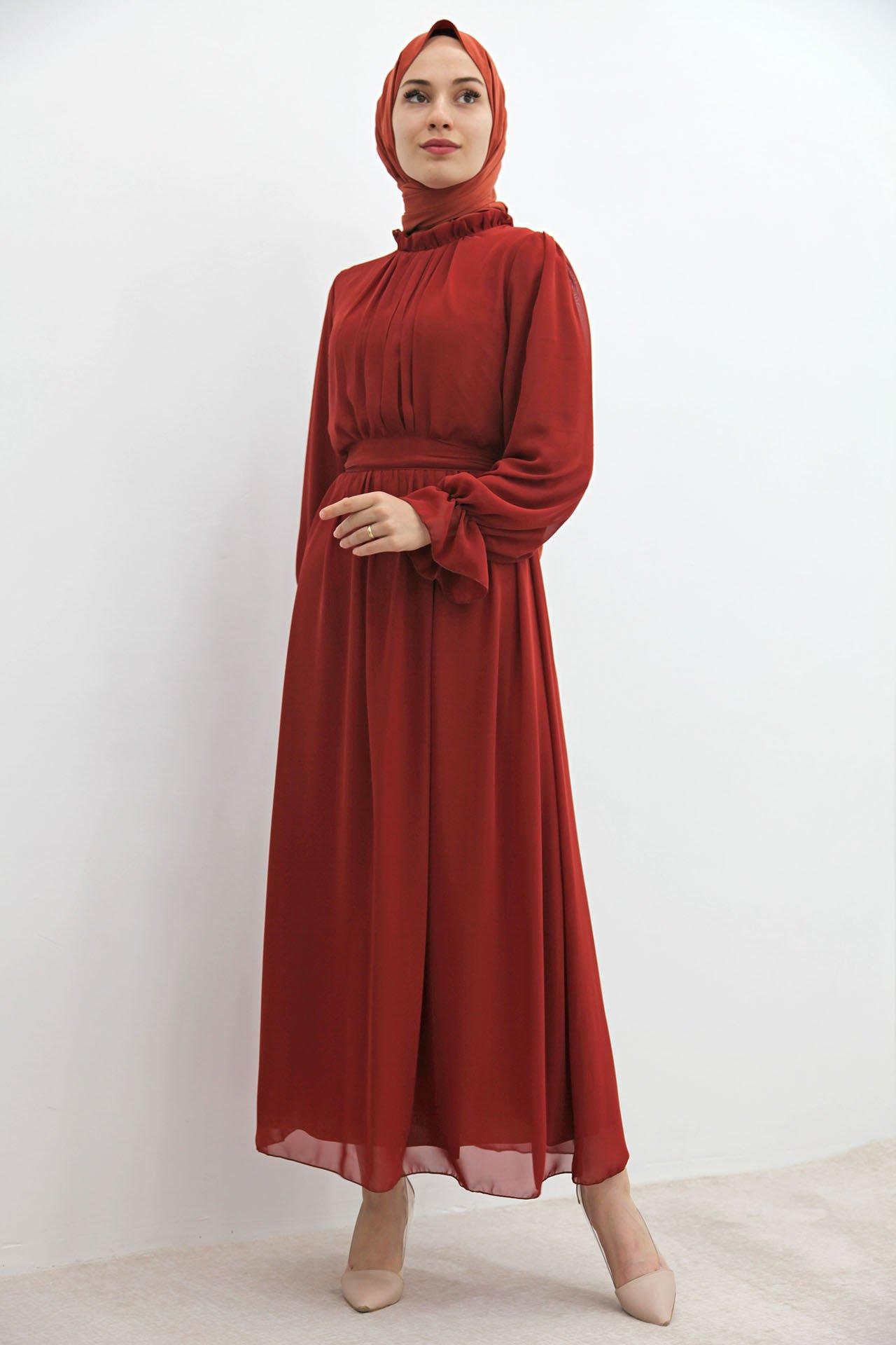 GİZAGİYİM - Kol Boyun Fırfır Tesettür Elbise Kiremit