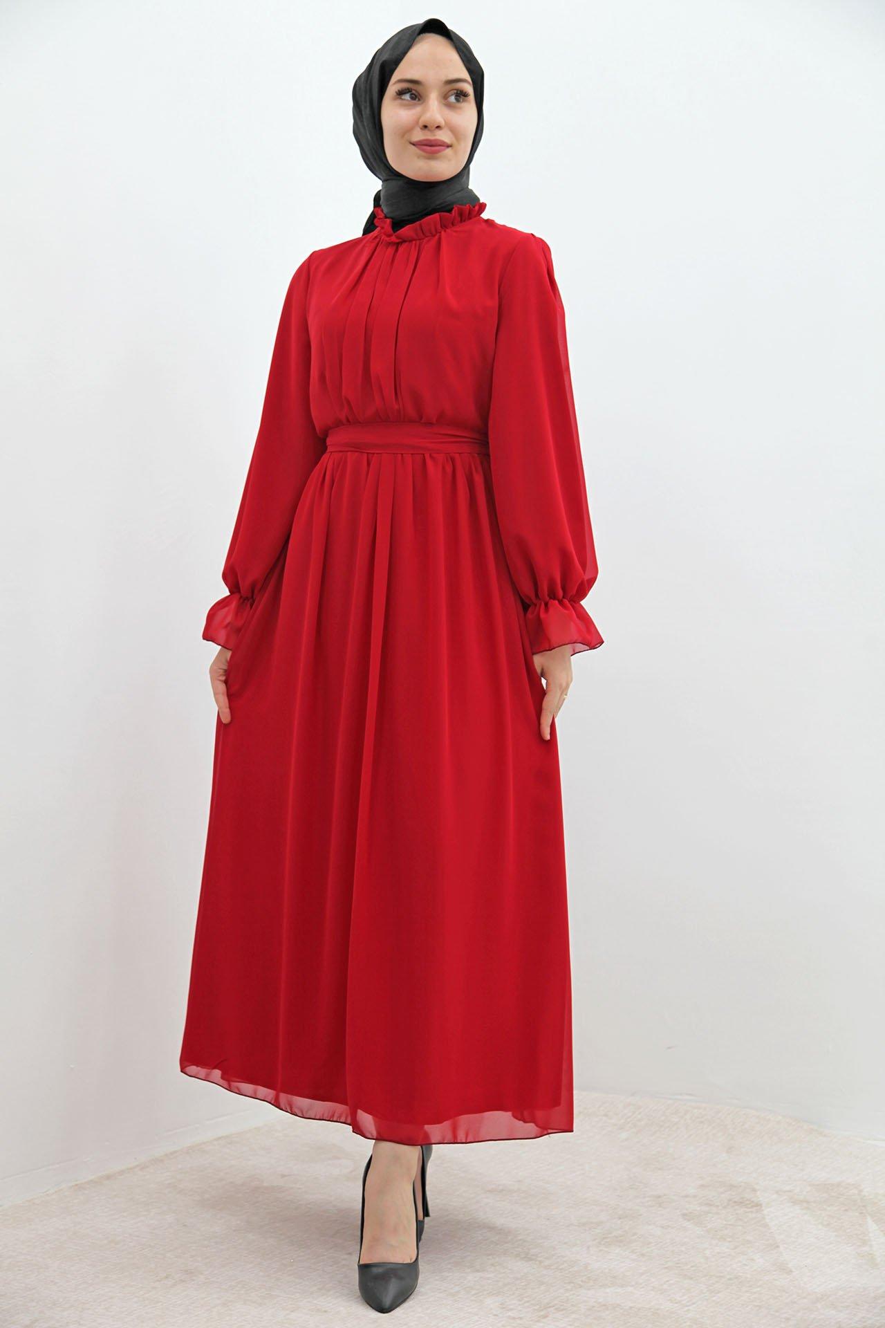 GİZAGİYİM - Kol Boyun Fırfır Tesettür Elbise Kırmızı