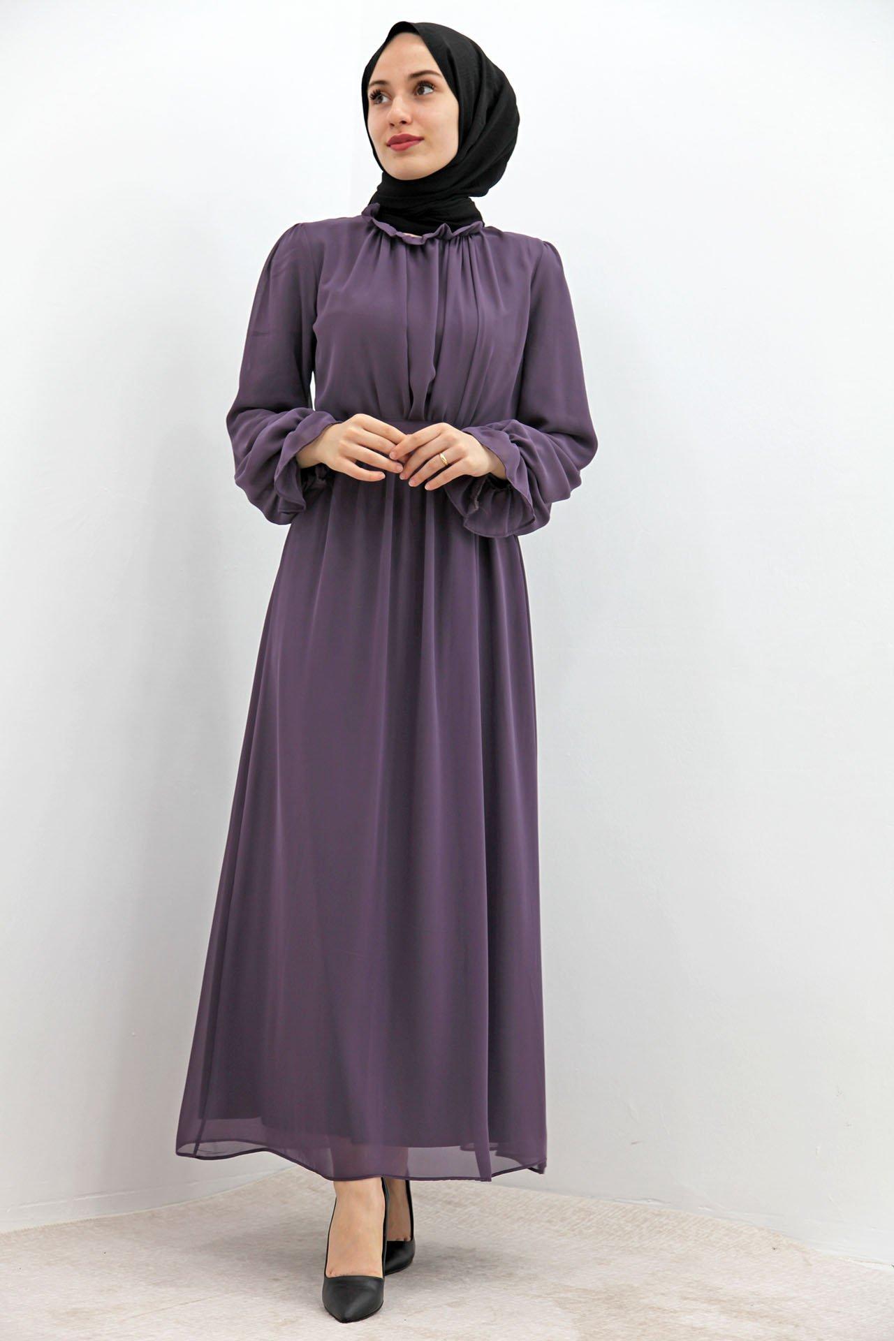 GİZAGİYİM - Kol Boyun Fırfır Tesettür Elbise Koyu Gül Kurusu