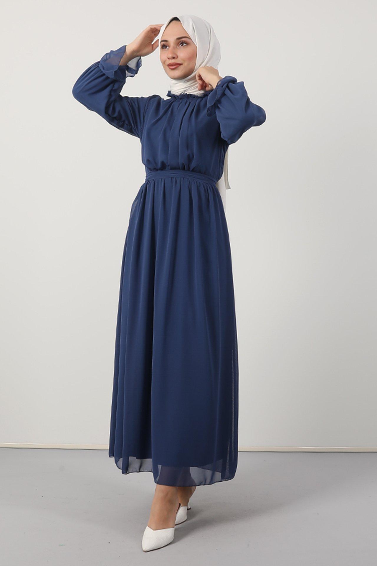 GİZAGİYİM - Giza Kol Boyun Fırfır Tesettür Elbise Mavi