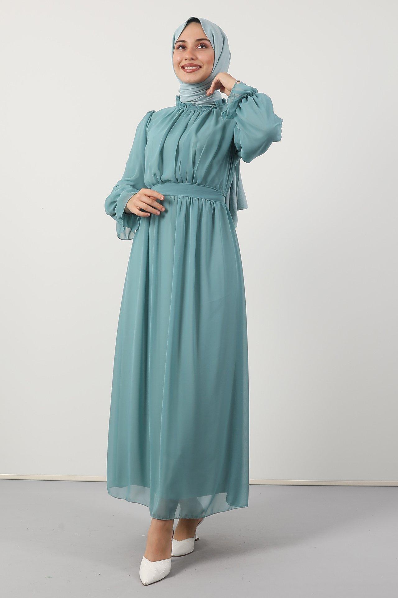 GİZAGİYİM - Giza Kol Boyun Fırfır Tesettür Elbise Mint