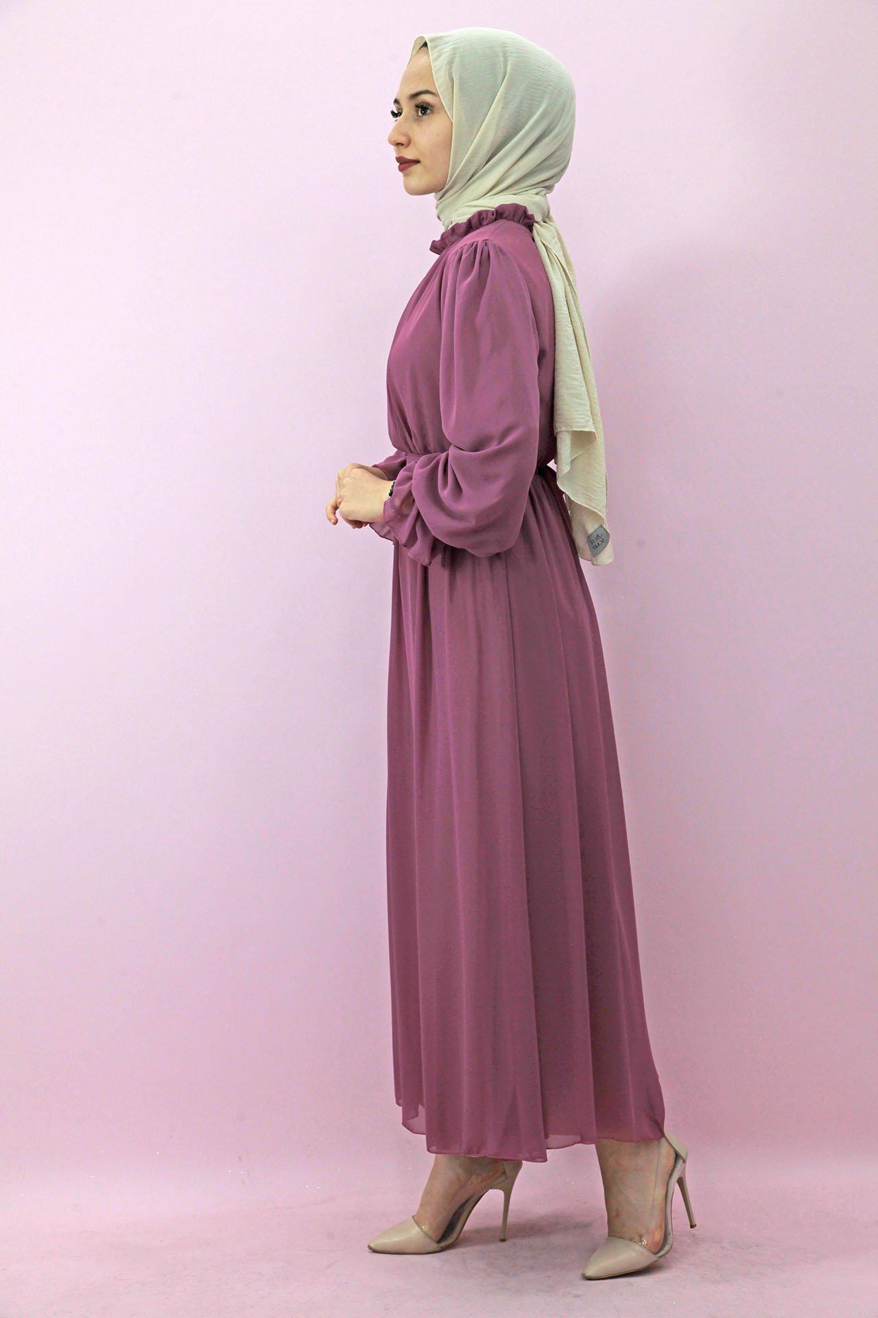 Giza Kol Boyun Fırfır Tesettür Elbise Pembe - Thumbnail