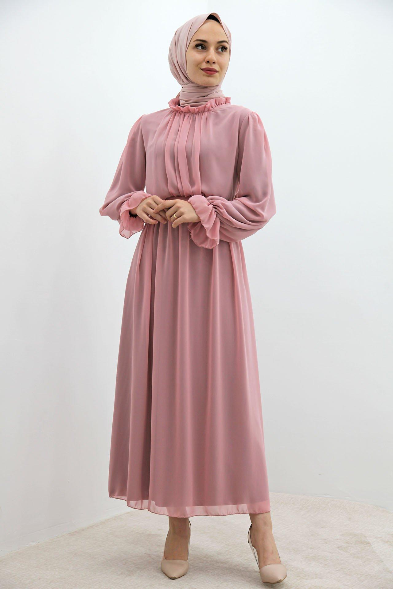 Kol Boyun Fırfır Tesettür Elbise Pudra - Thumbnail