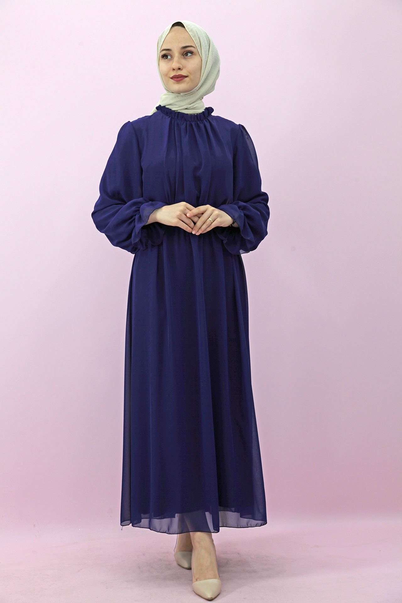 GİZAGİYİM - Kol Boyun Fırfır Tesettür Elbise Saks