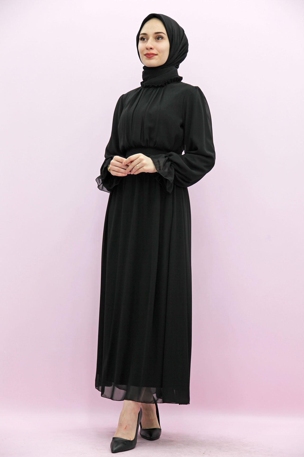 GİZAGİYİM - Giza Kol Boyun Fırfır Tesettür Elbise Siyah