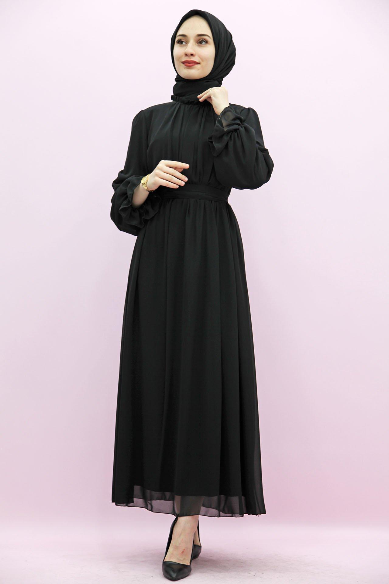Giza Kol Boyun Fırfır Tesettür Elbise Siyah - Thumbnail