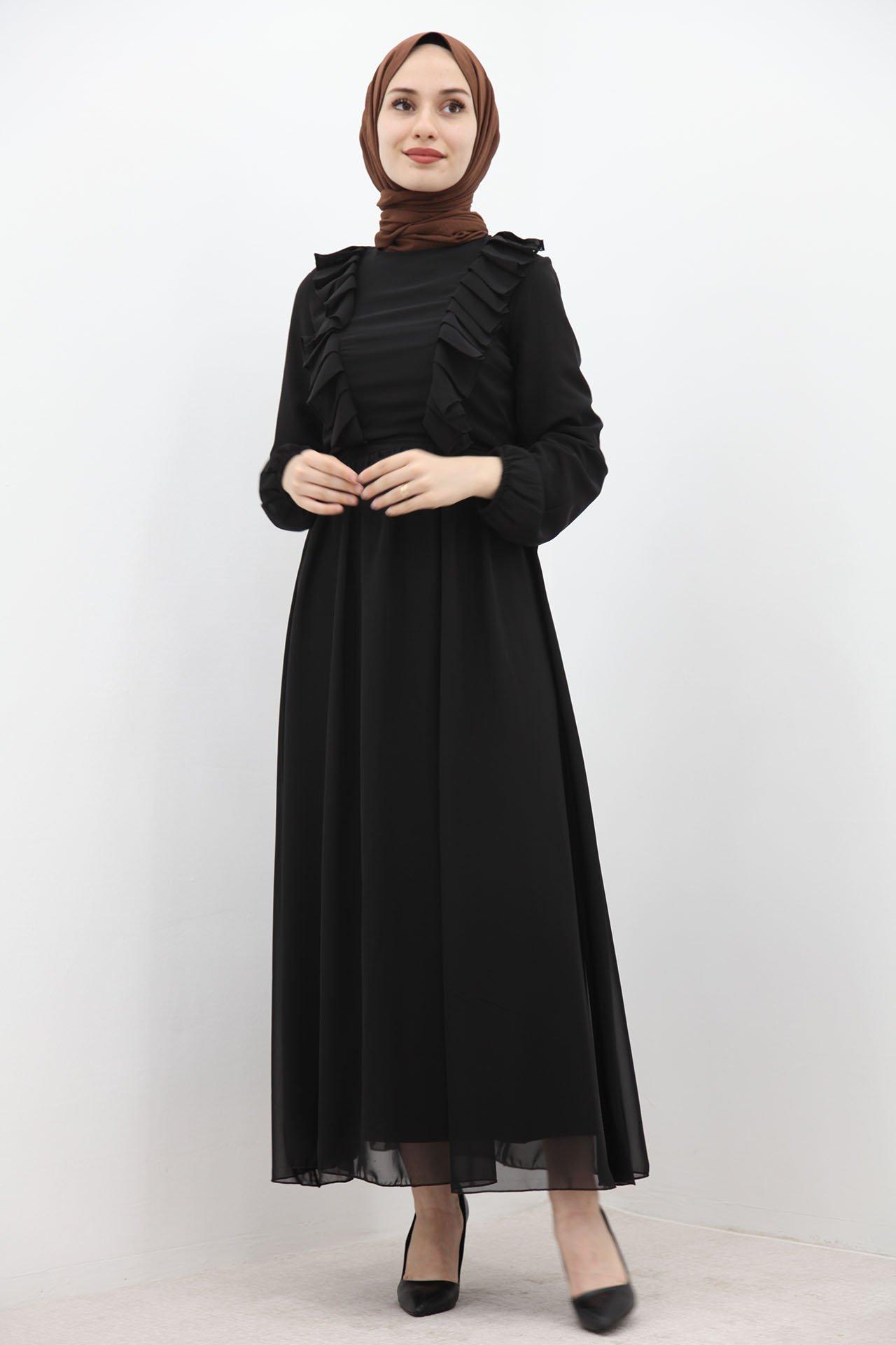 GİZAGİYİM - Kol Ucu Lastikli Elbise Siyah