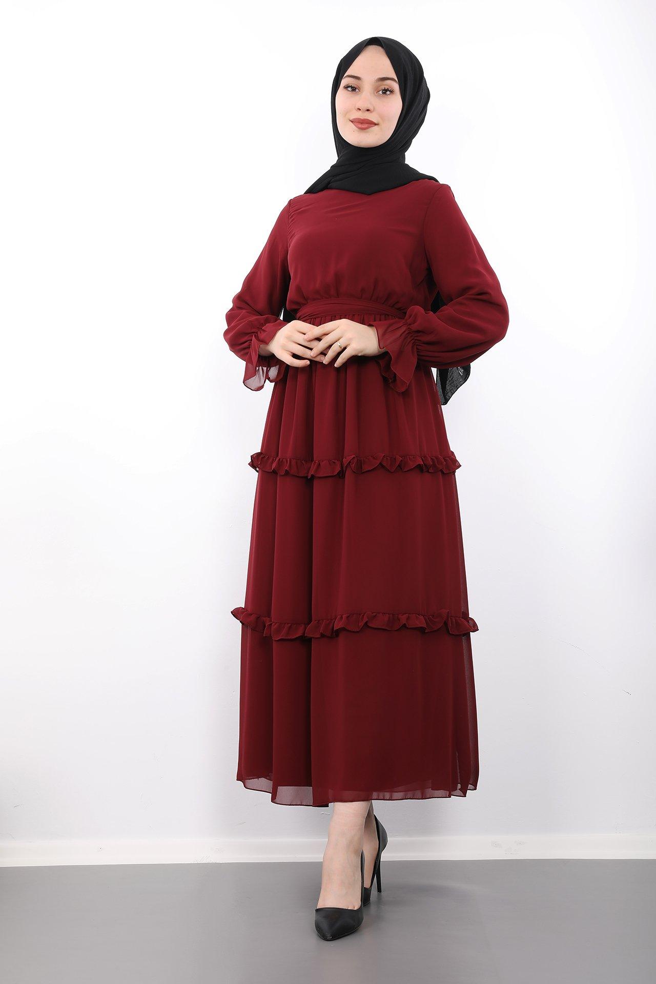 GİZAGİYİM - Eteği Fırfırlı Tesettür Elbise Bordo