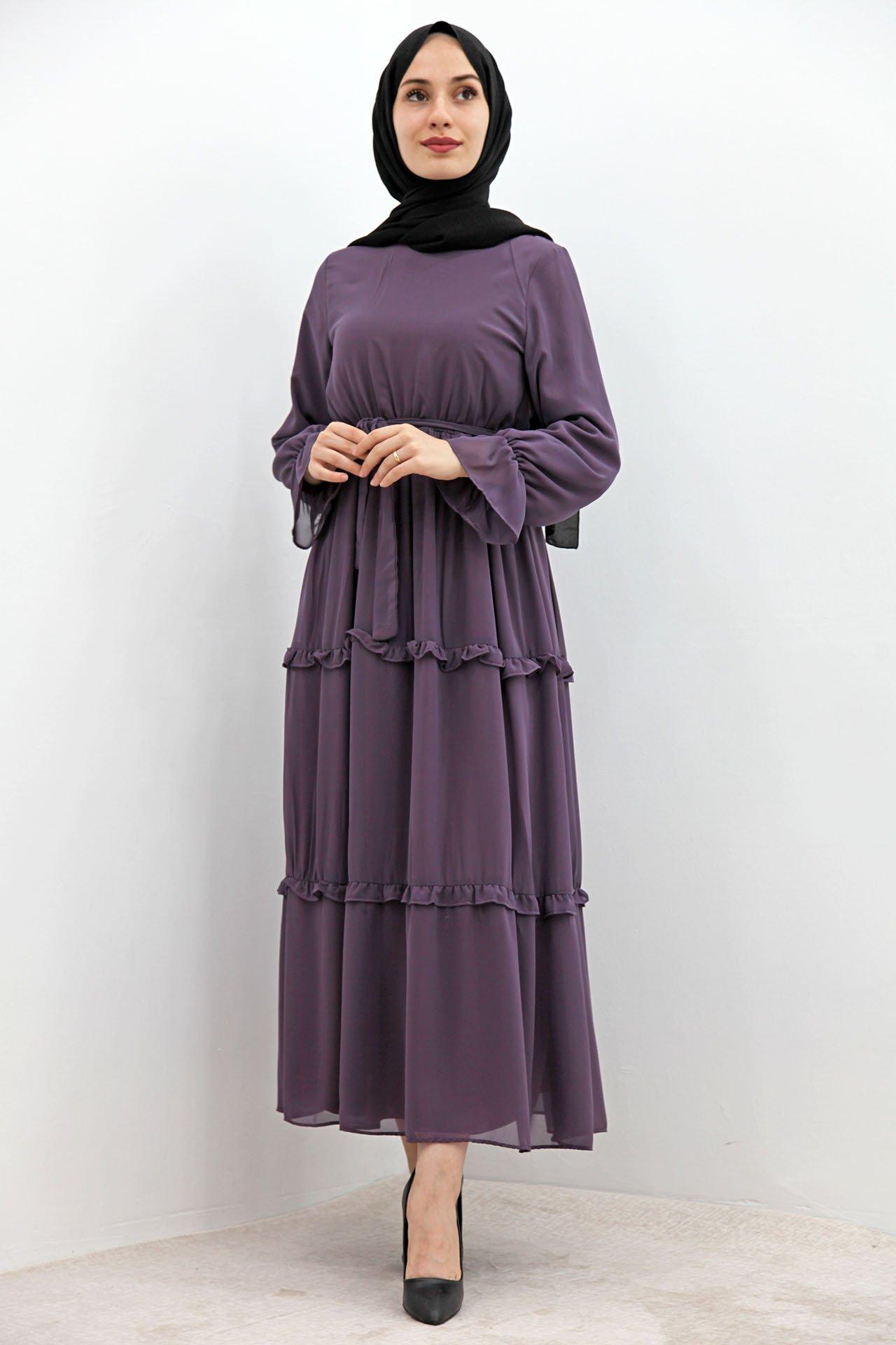 GİZAGİYİM - Eteği Fırfırlı Tesettür Elbise Gül Kurusu