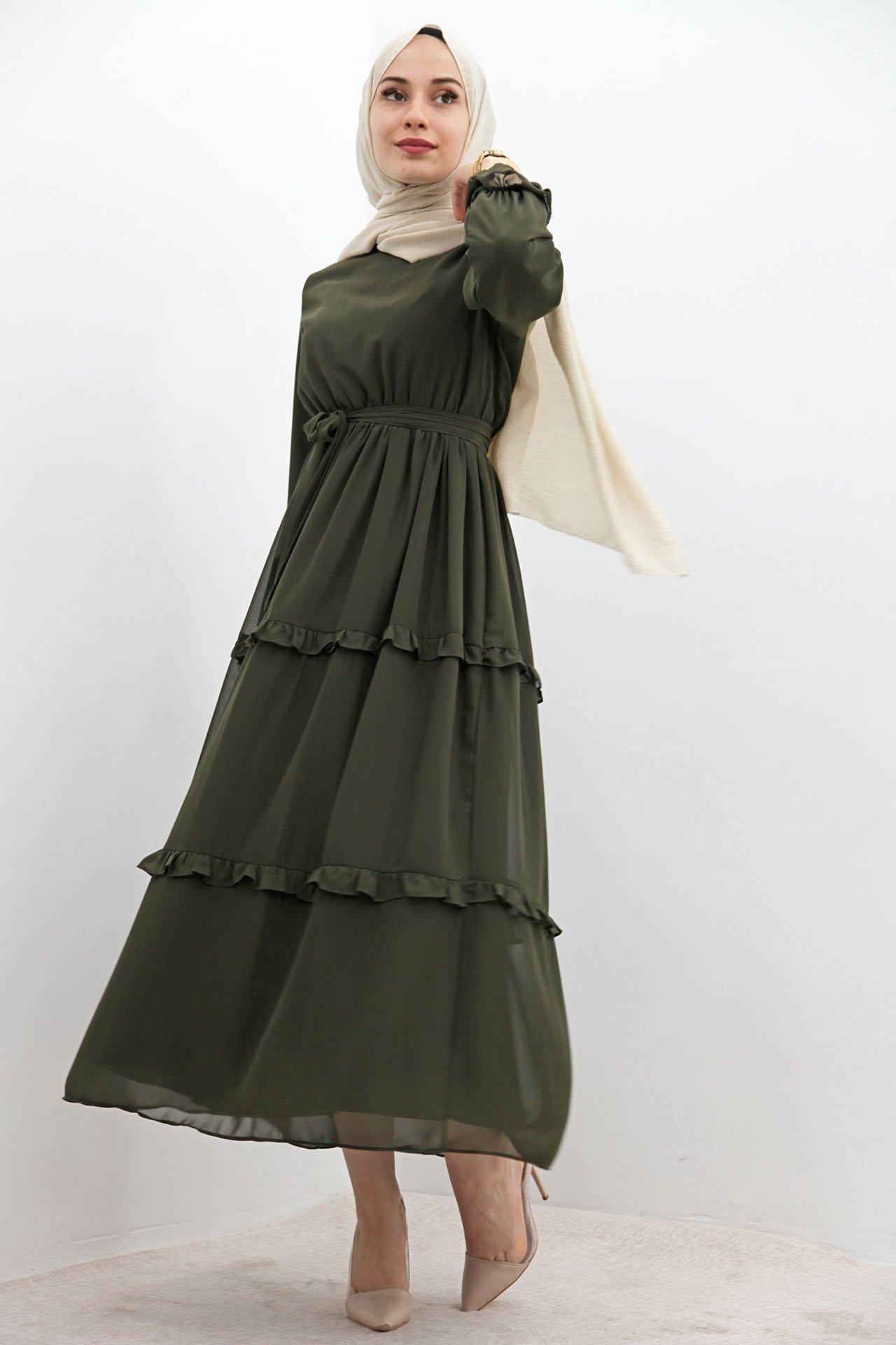 Eteği Fırfırlı Tesettür Elbise Haki - Thumbnail