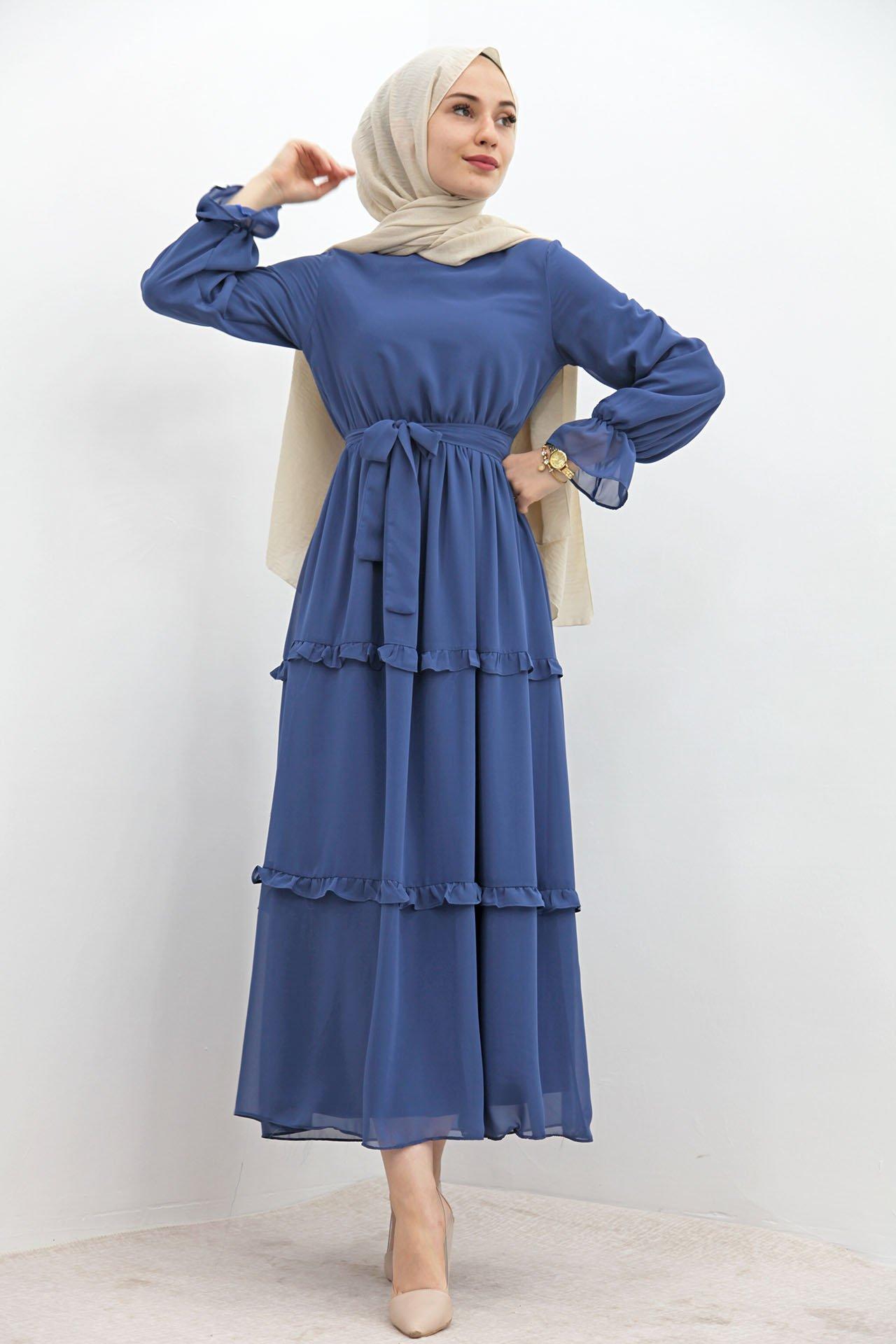 GİZAGİYİM - Eteği Fırfırlı Tesettür Elbise Lacivert