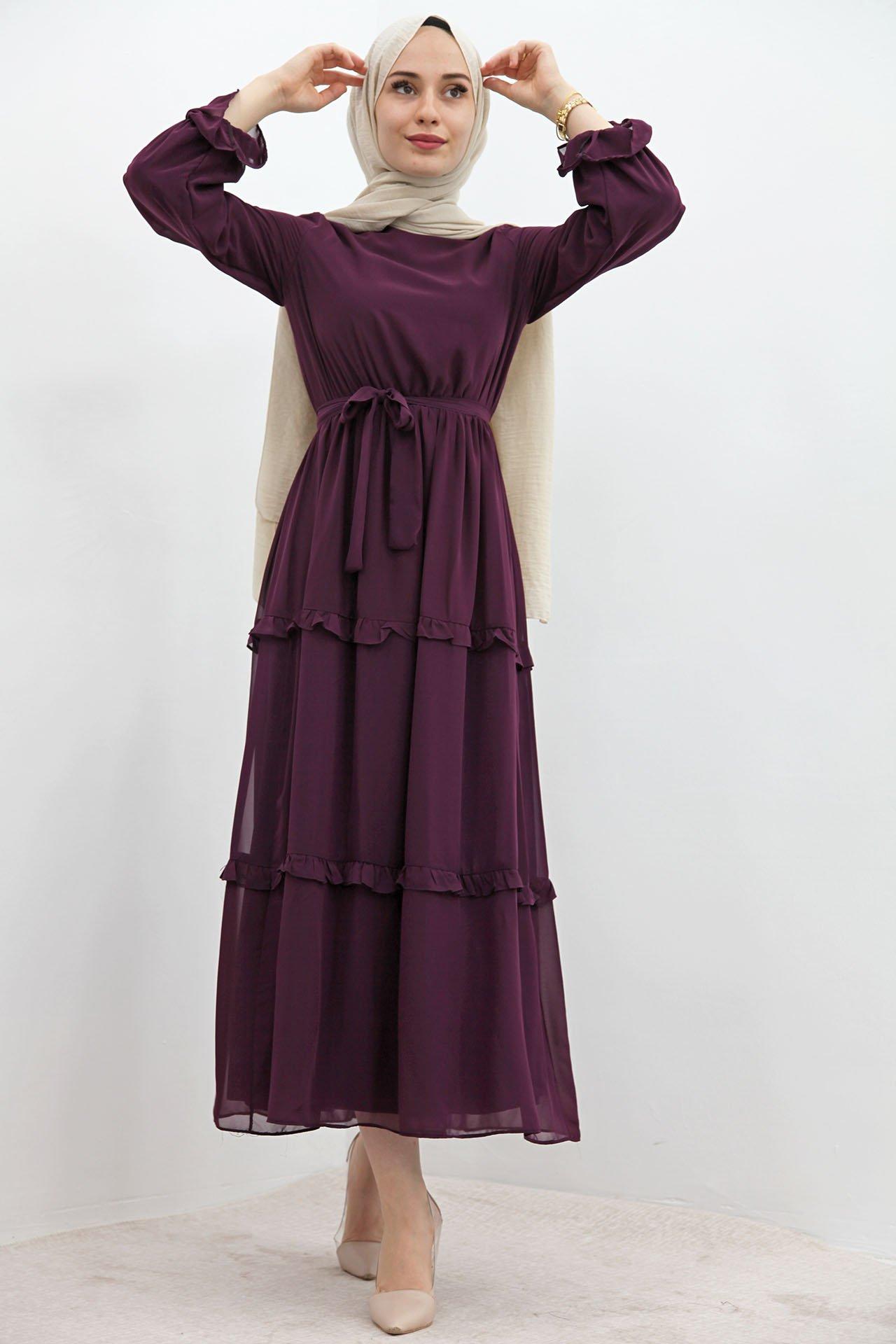 GİZAGİYİM - Eteği Fırfırlı Tesettür Elbise Mor