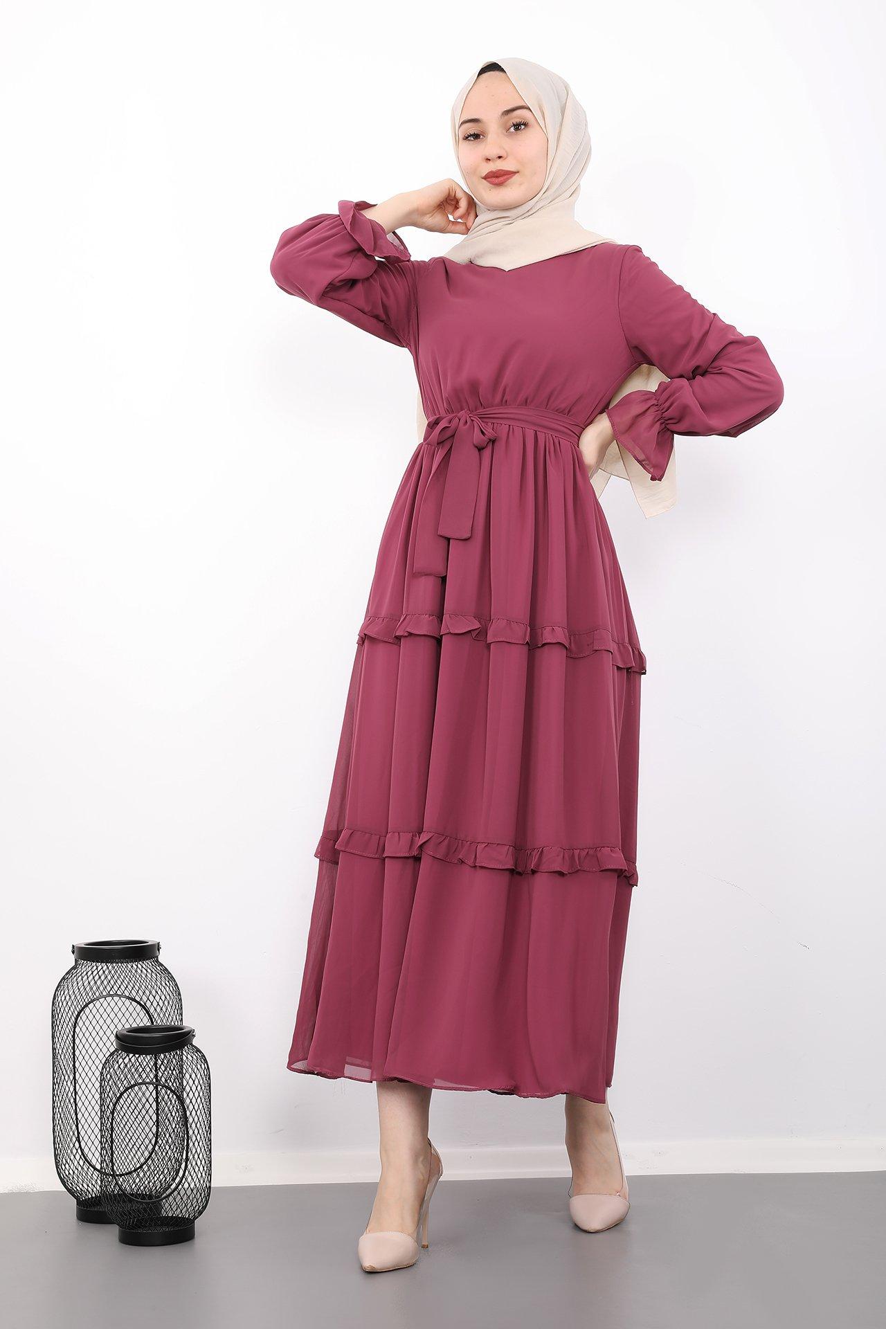 GİZAGİYİM - Eteği Fırfırlı Tesettür Elbise Pembe