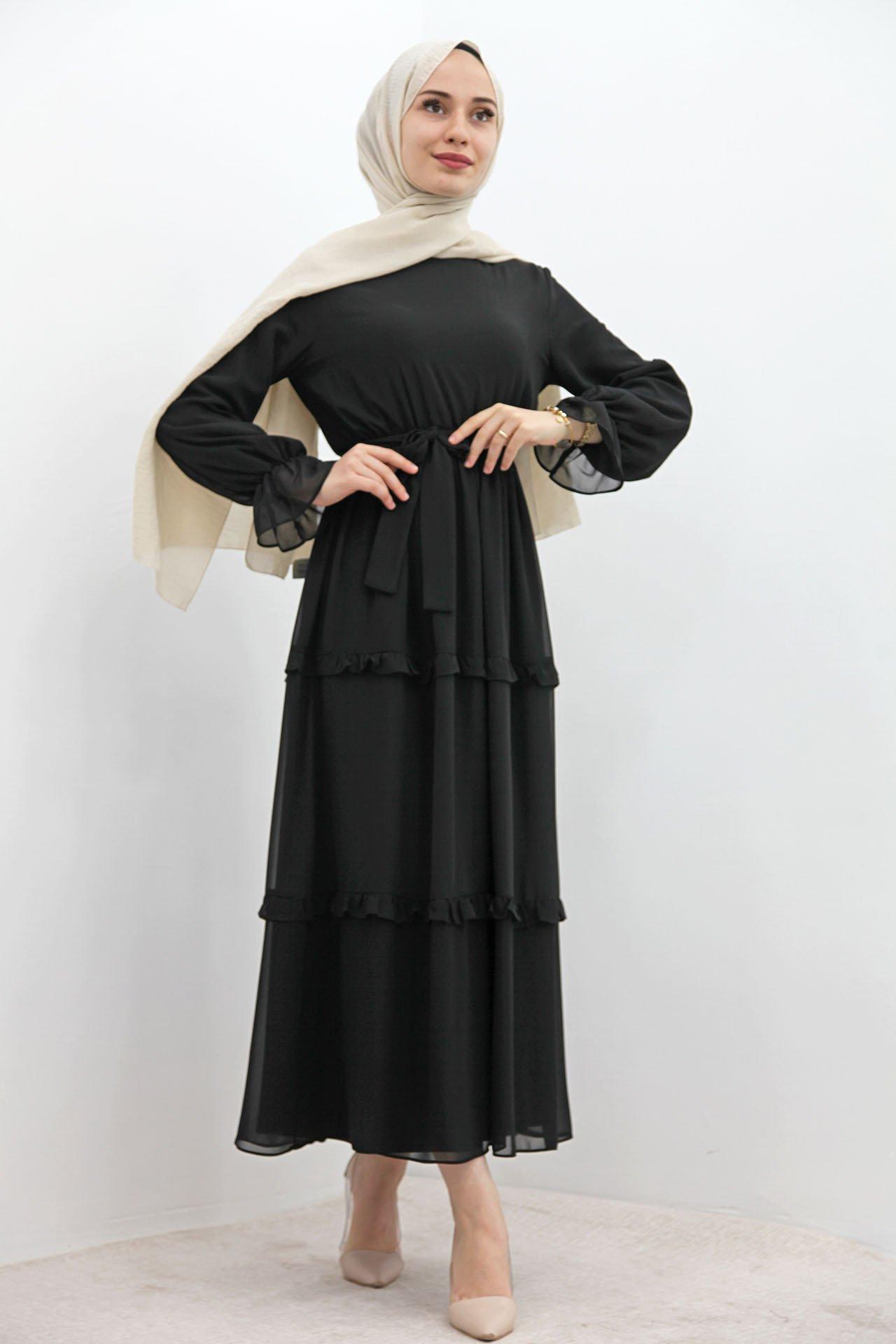GİZAGİYİM - Eteği Fırfırlı Tesettür Elbise Siyah