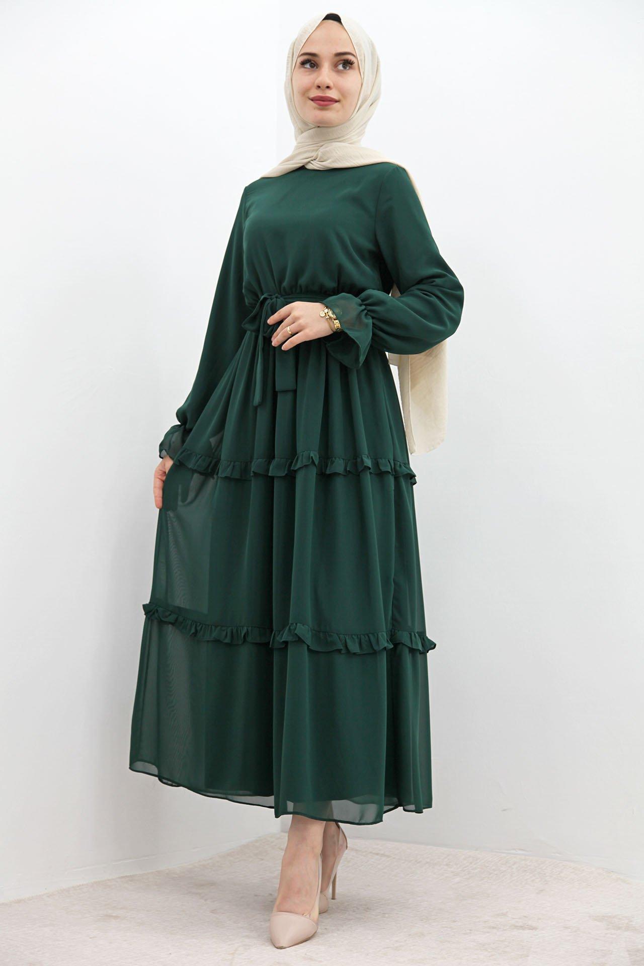 GİZAGİYİM - Eteği Fırfırlı Tesettür Elbise Zümrüt