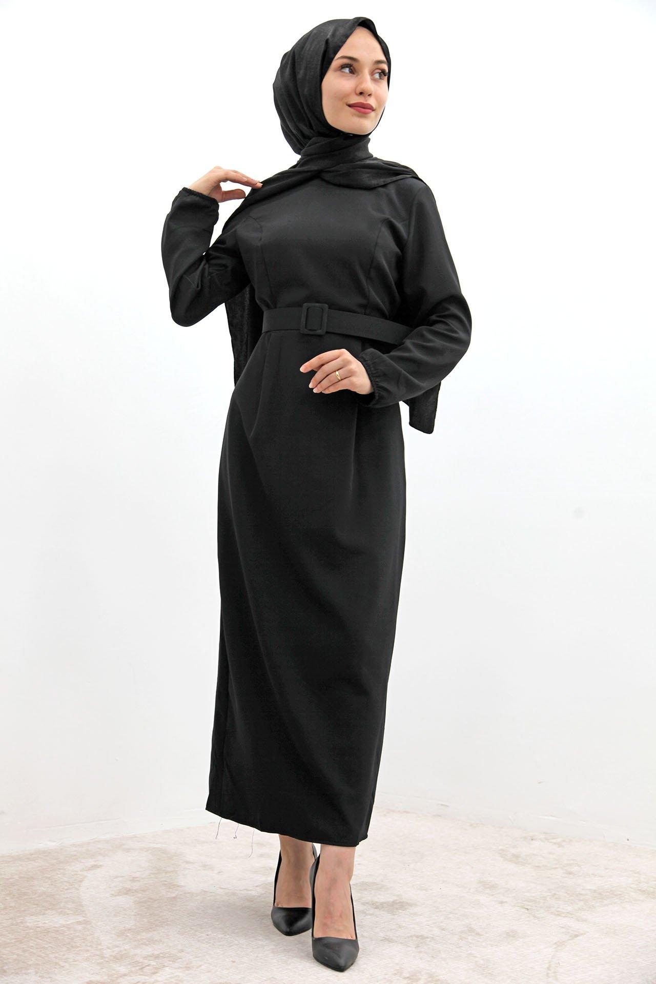 GİZAGİYİM - Kol Ucu Lastikli Kalem Elbise Siyah