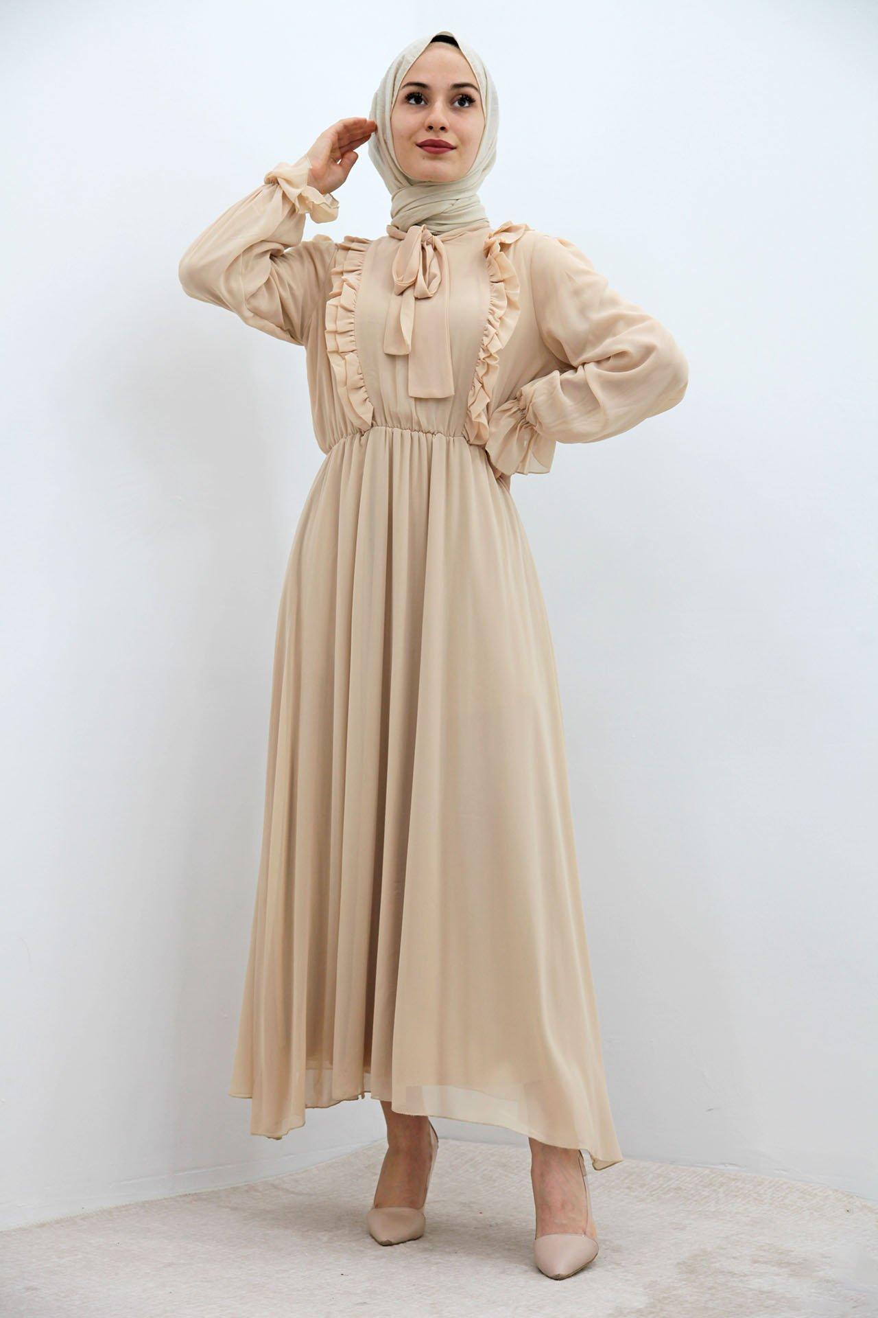 GİZAGİYİM - Beli Lastikli Fırfırlı Elbise Bej