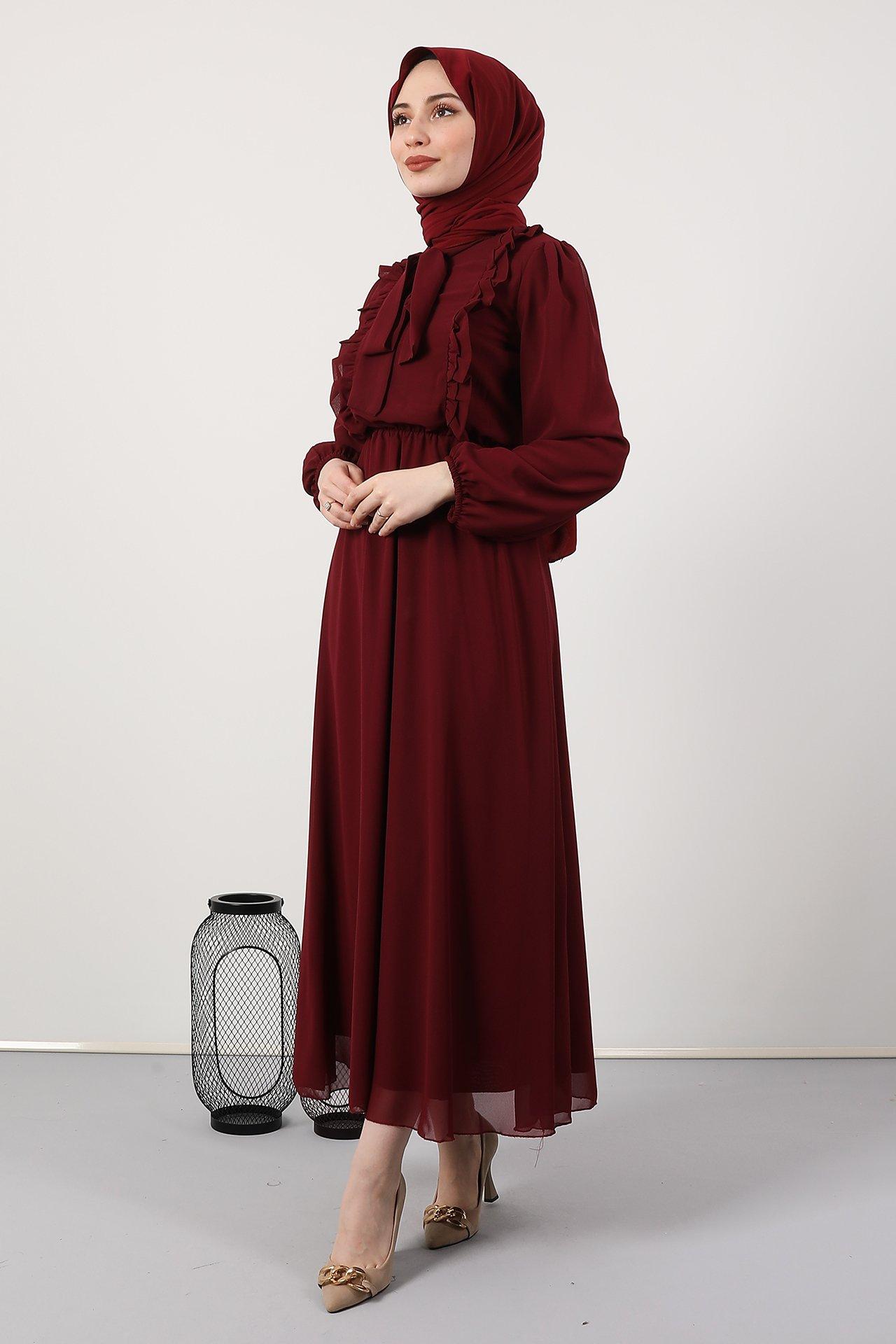 GİZAGİYİM - Giza Beli Lastikli Fırfırlı Elbise Bordo