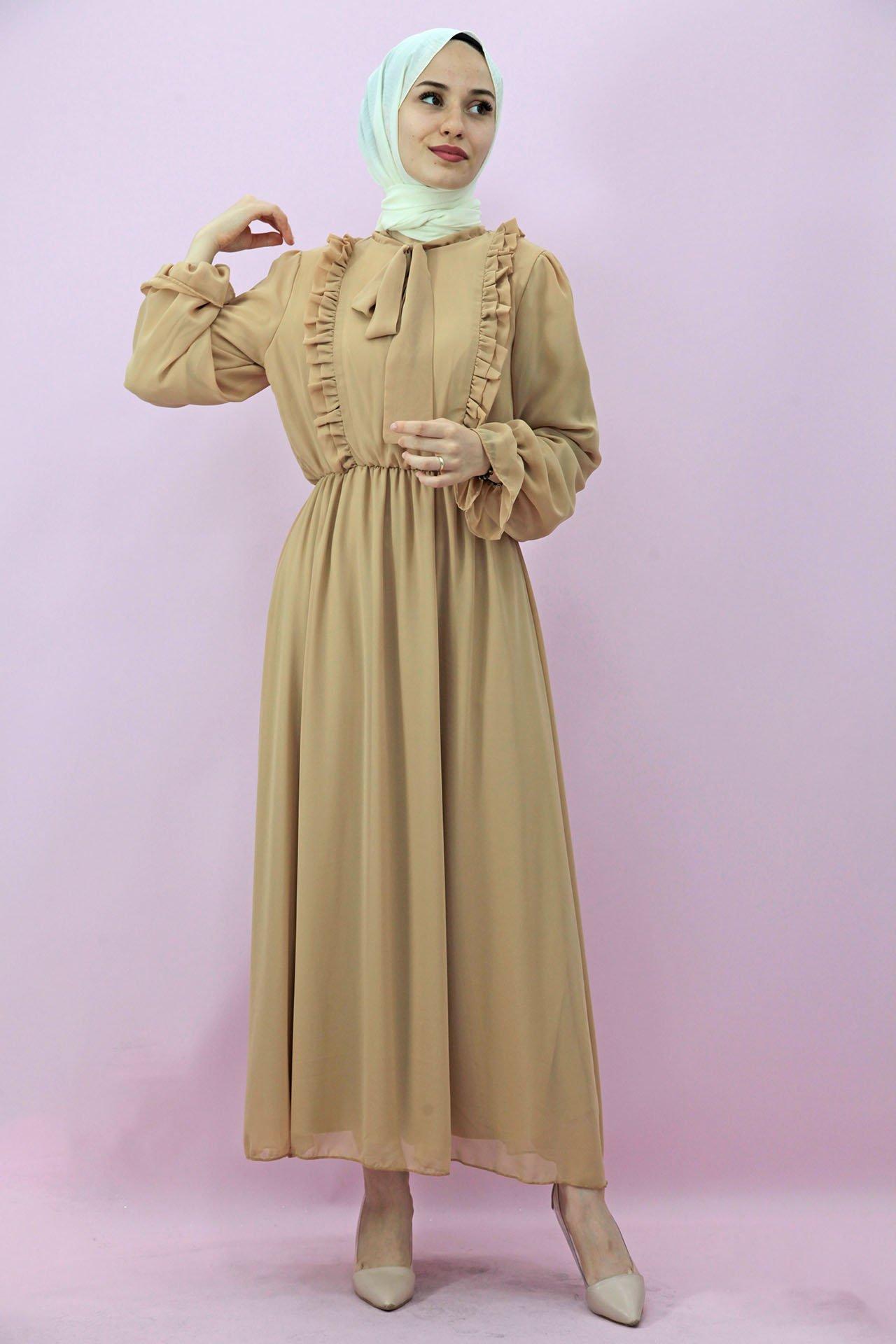 GİZAGİYİM - Giza Beli Lastikli Fırfırlı Elbise Bisküvi