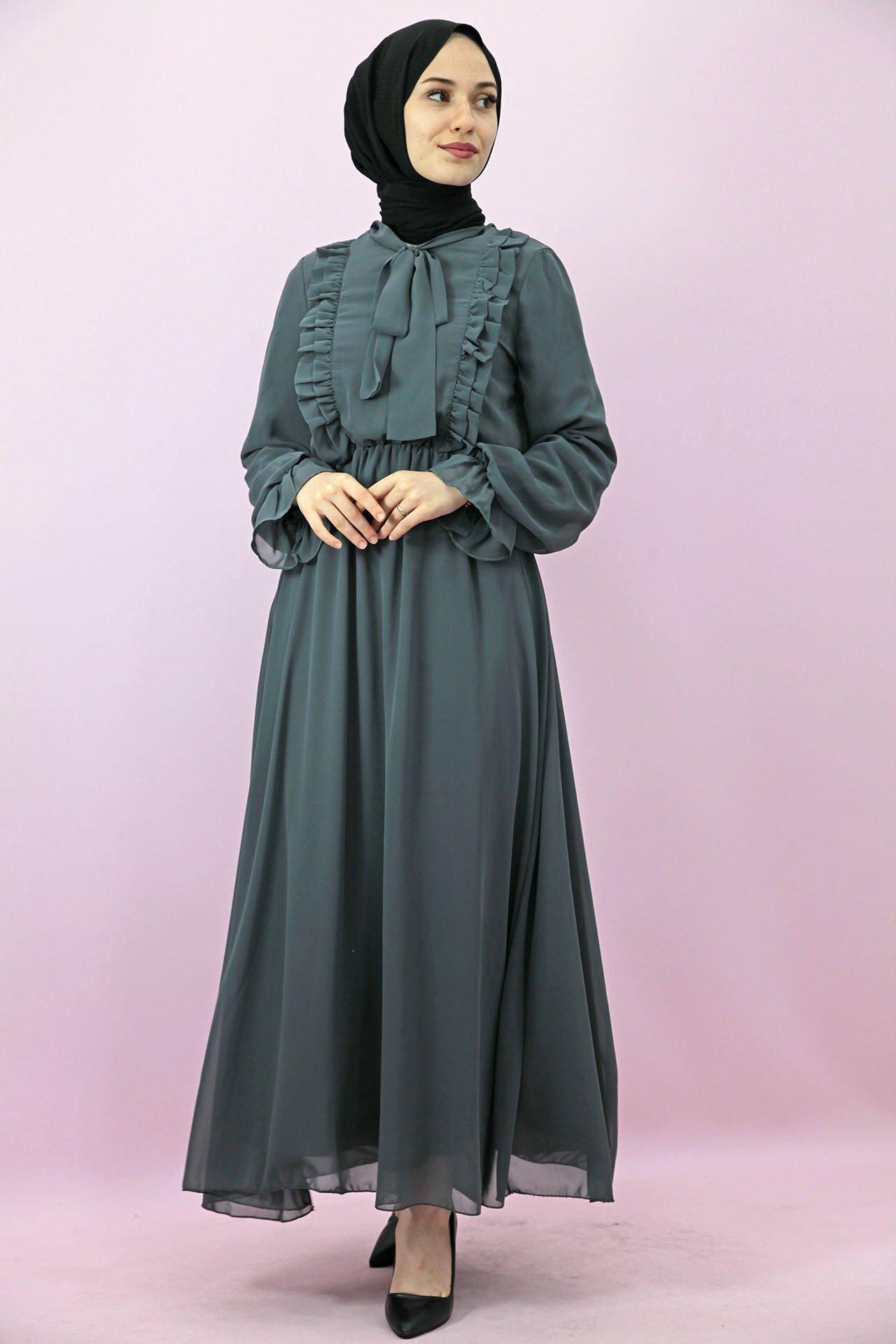 GİZAGİYİM - Giza Beli Lastikli Fırfırlı Elbise Gri