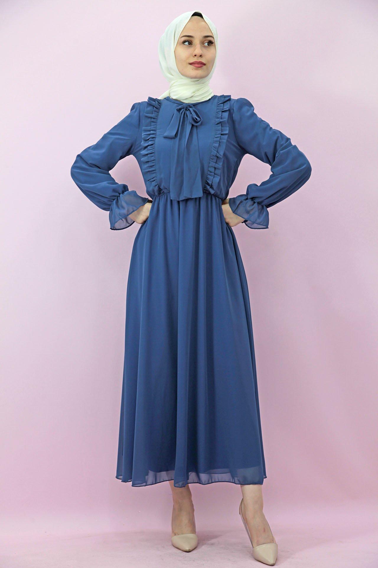 GİZAGİYİM - Giza Beli Lastikli Fırfırlı Elbise İndigo
