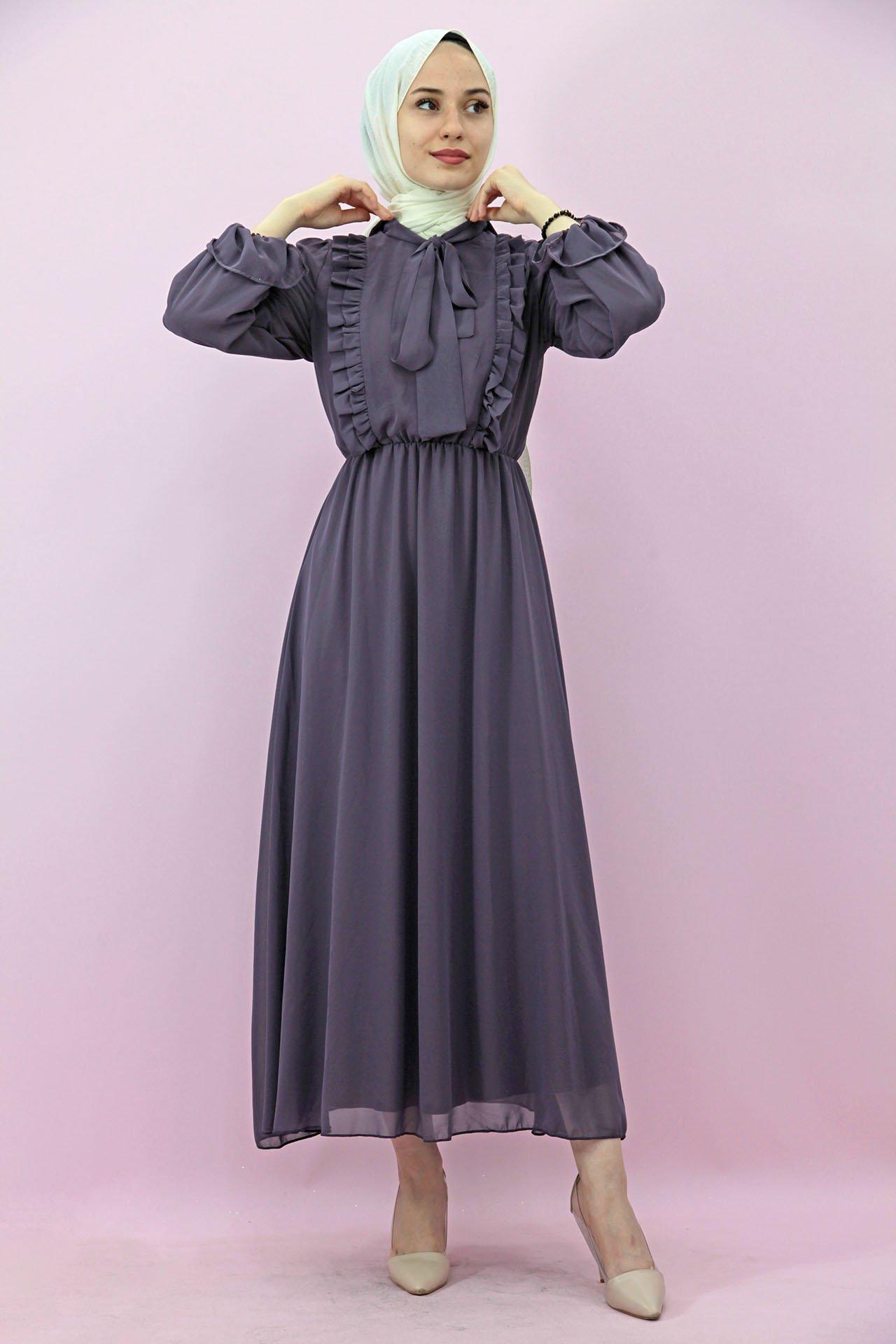 GİZAGİYİM - Giza Beli Lastikli Fırfırlı Elbise Lila