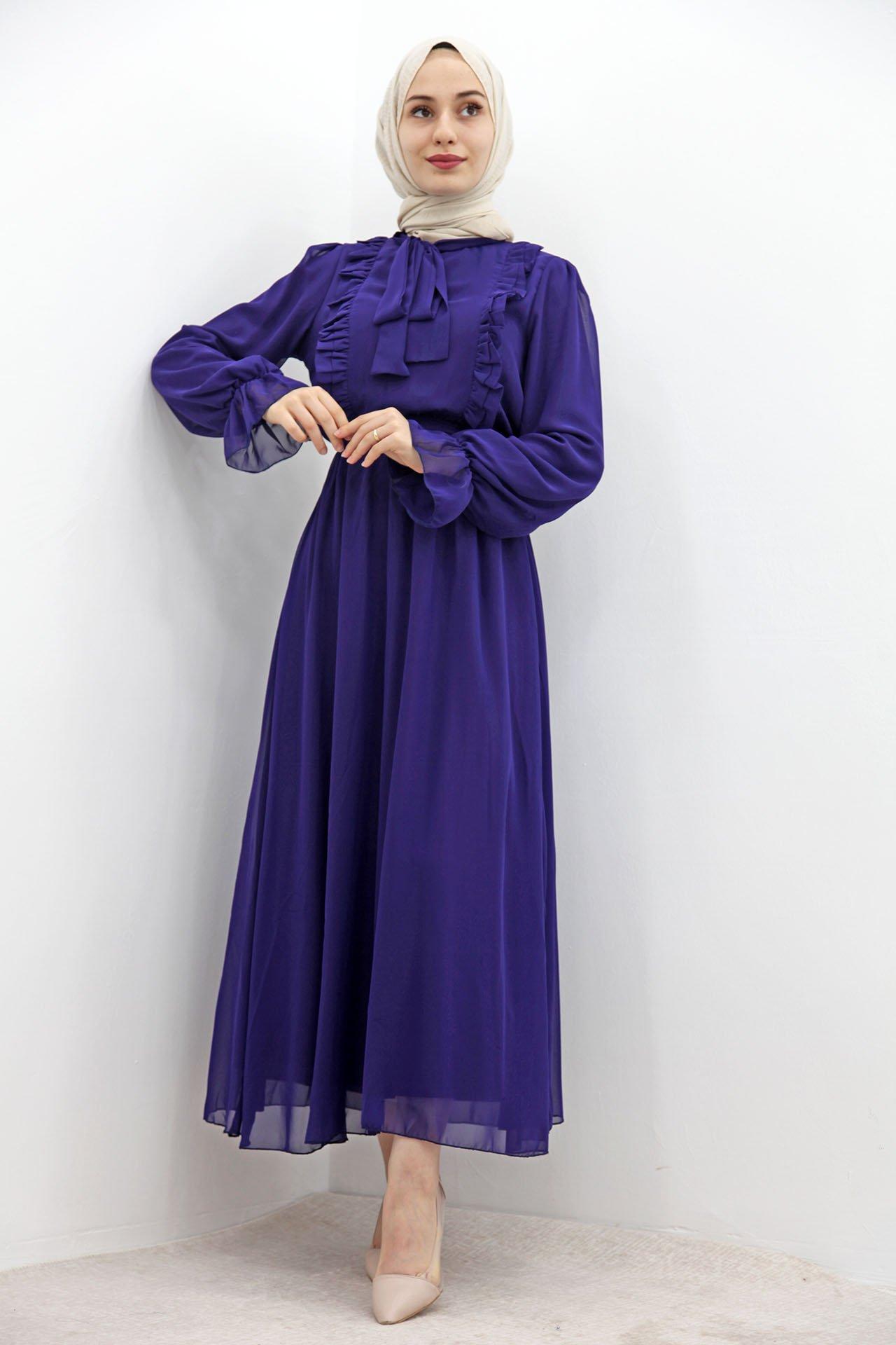 GİZAGİYİM - Beli Lastikli Fırfırlı Elbise Morcivert