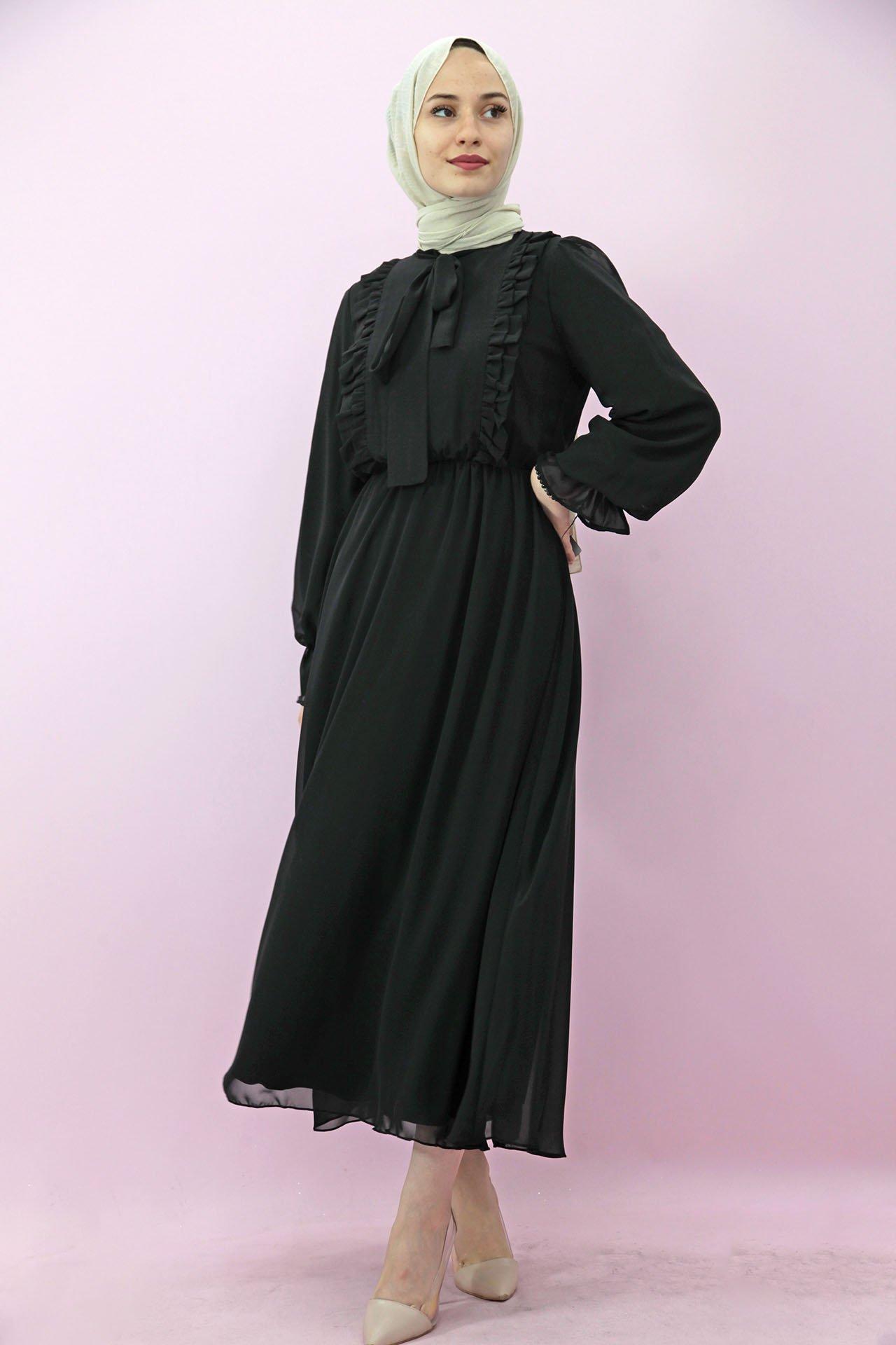 GİZAGİYİM - Giza Beli Lastikli Fırfırlı Elbise Siyah