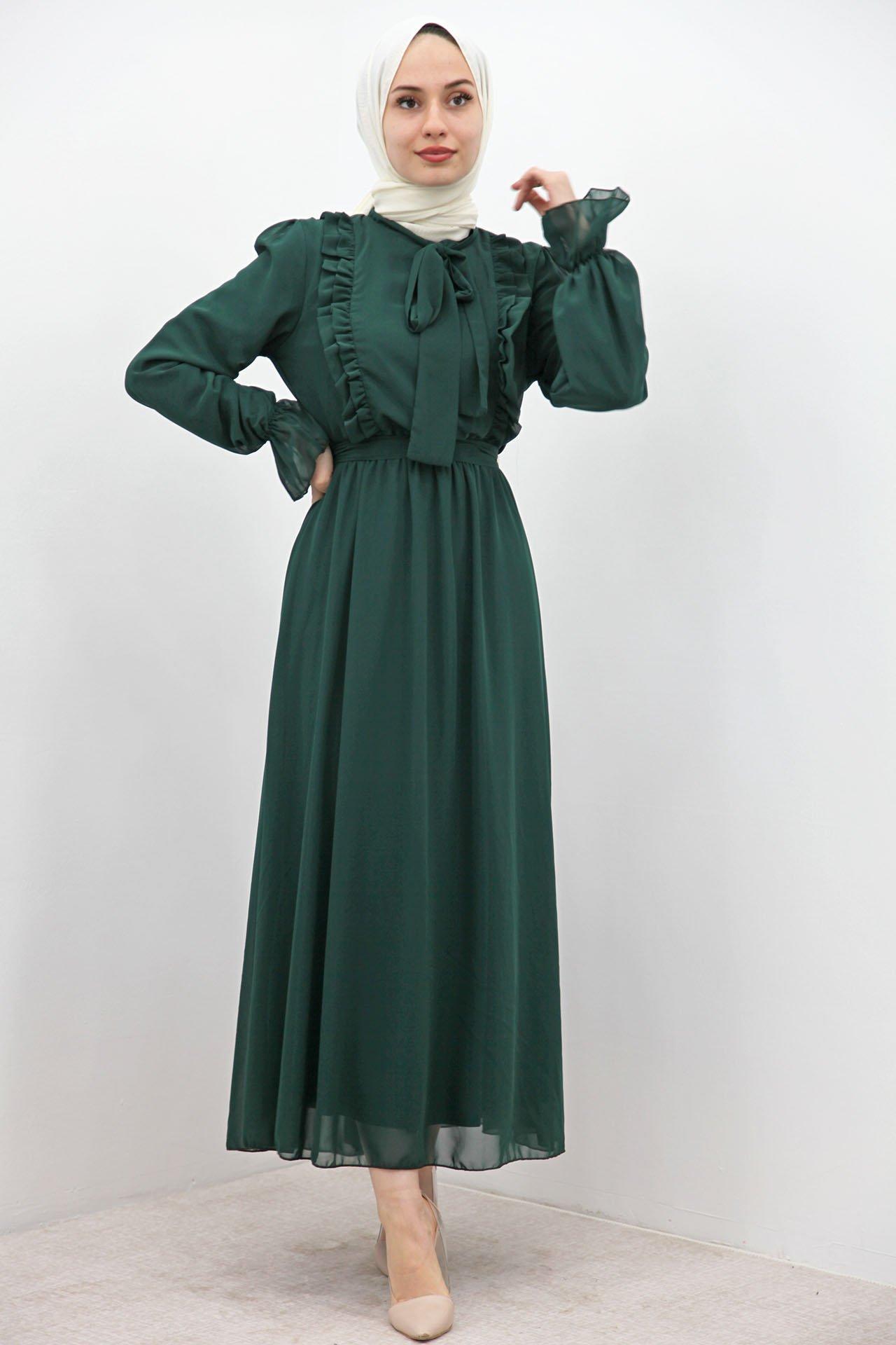 GİZAGİYİM - Beli Lastikli Fırfırlı Elbise Zümrüt