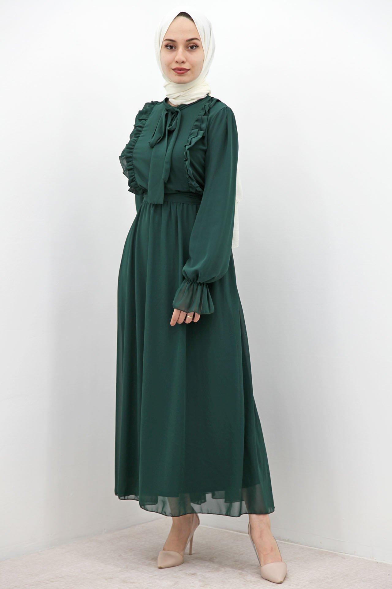 Giza Beli Lastikli Fırfırlı Elbise Zümrüt - Thumbnail