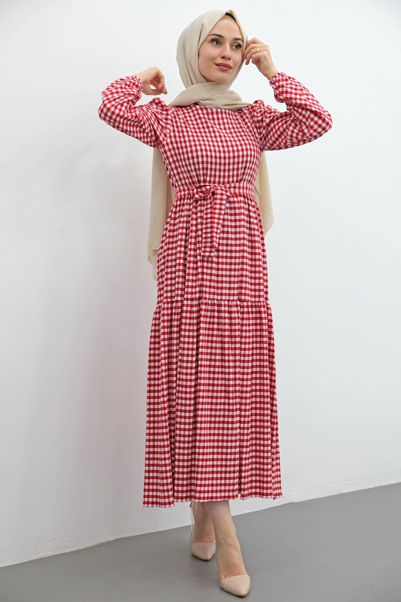 GİZAGİYİM - Giza Ekose Gofre Tesettür Elbise Kırmızı