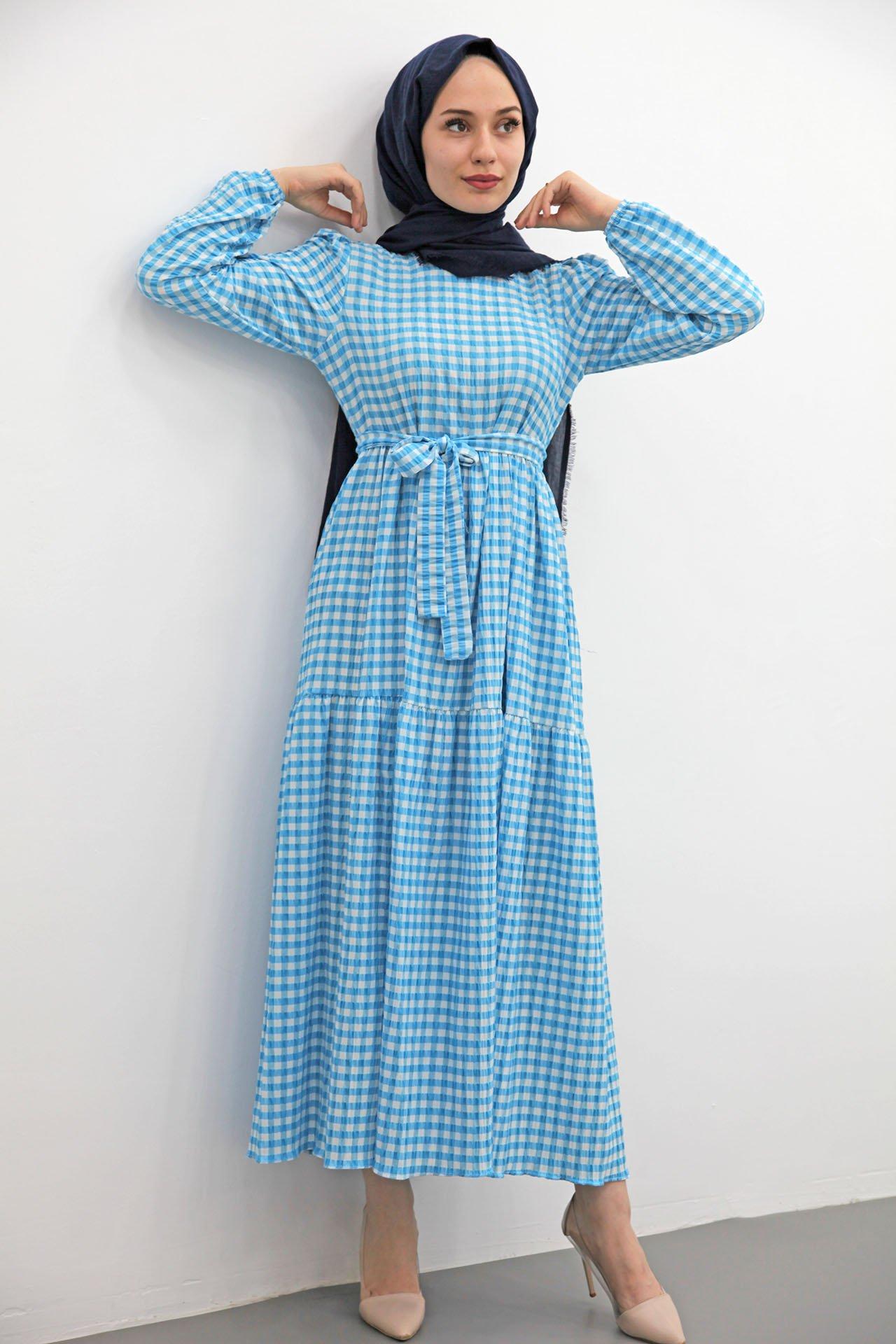 GİZAGİYİM - Ekose Gofre Tesettür Elbise Mavi