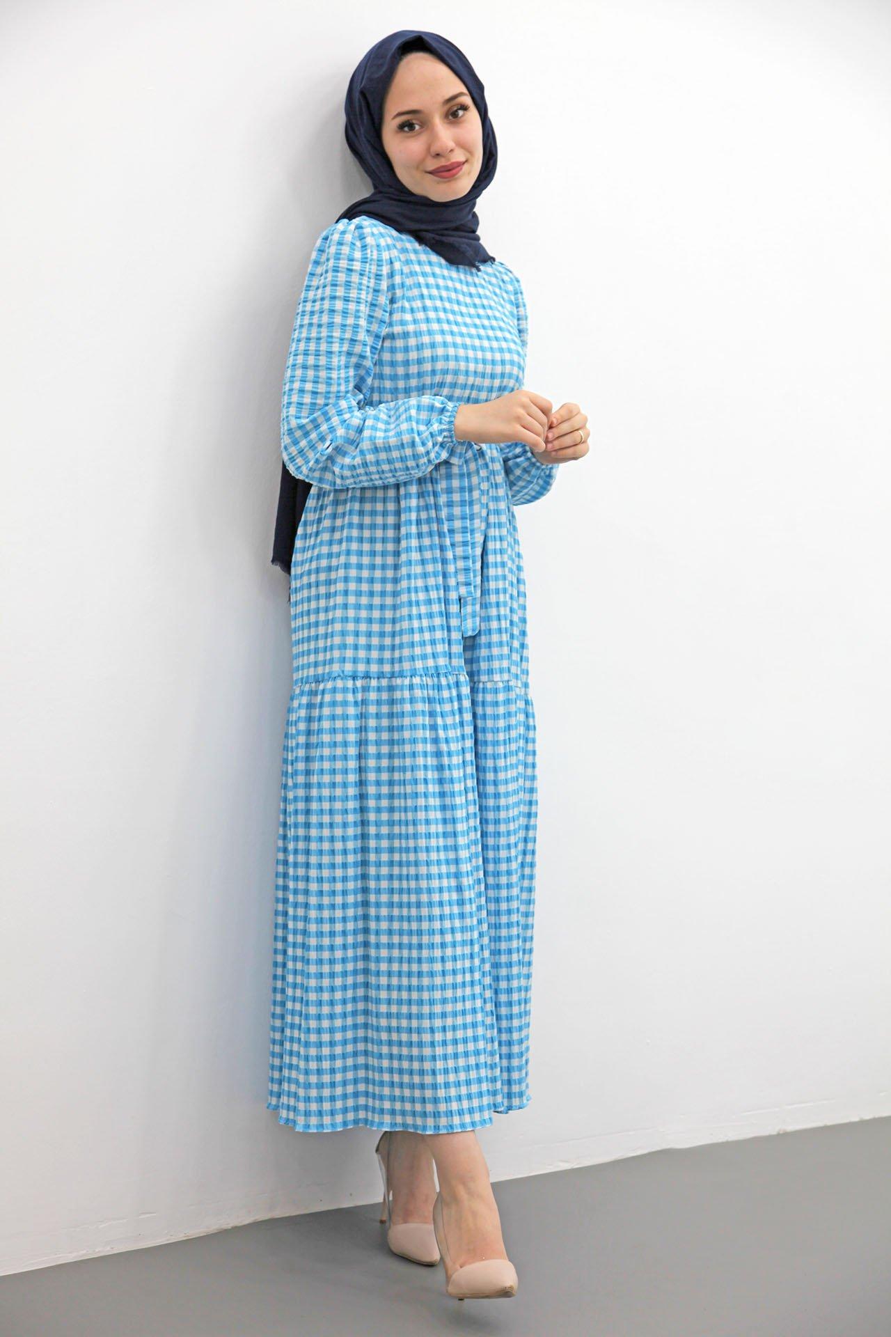 Giza Ekose Gofre Tesettür Elbise Mavi - Thumbnail